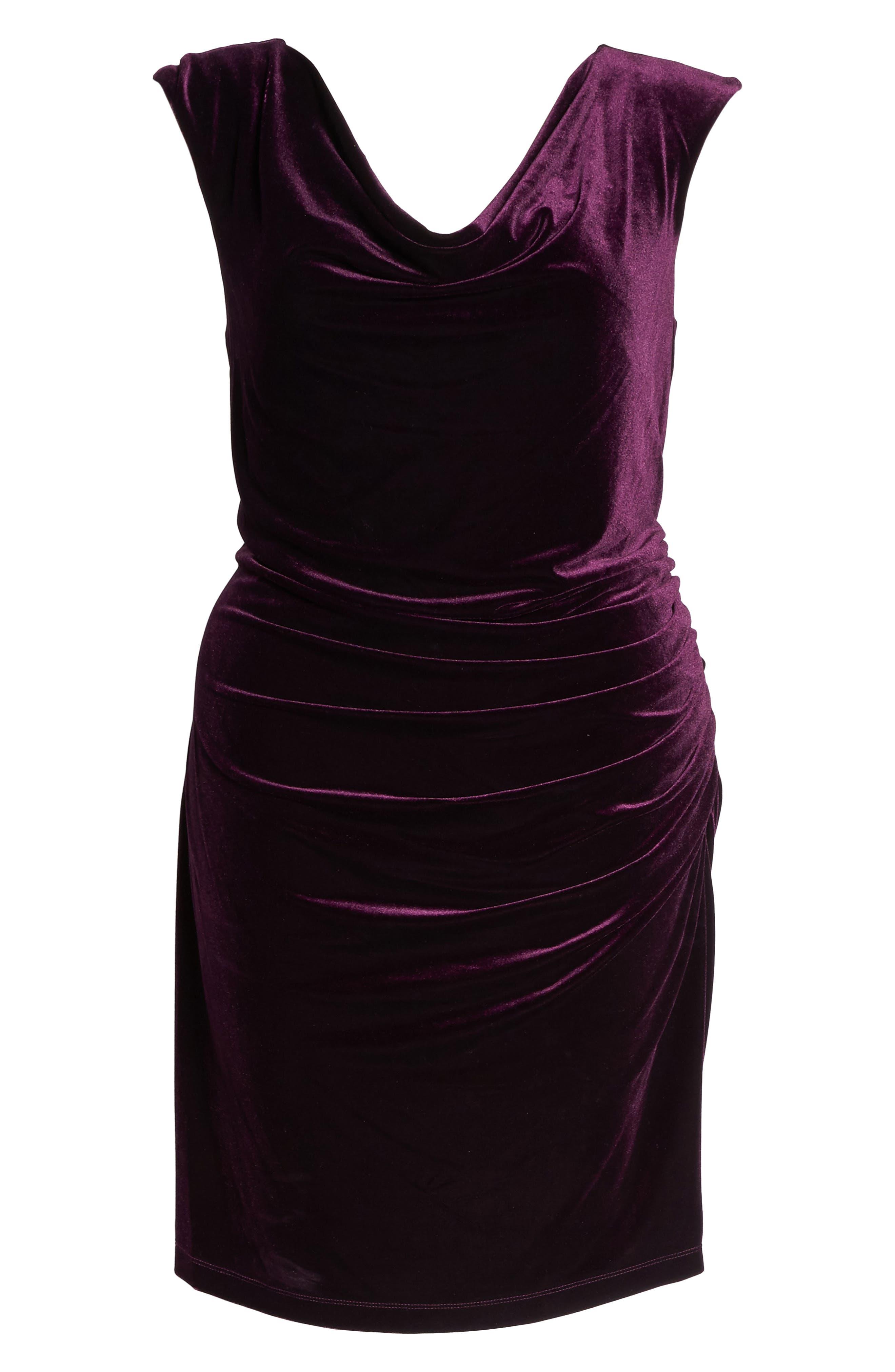Velvet Body-Con Dress,                             Alternate thumbnail 6, color,