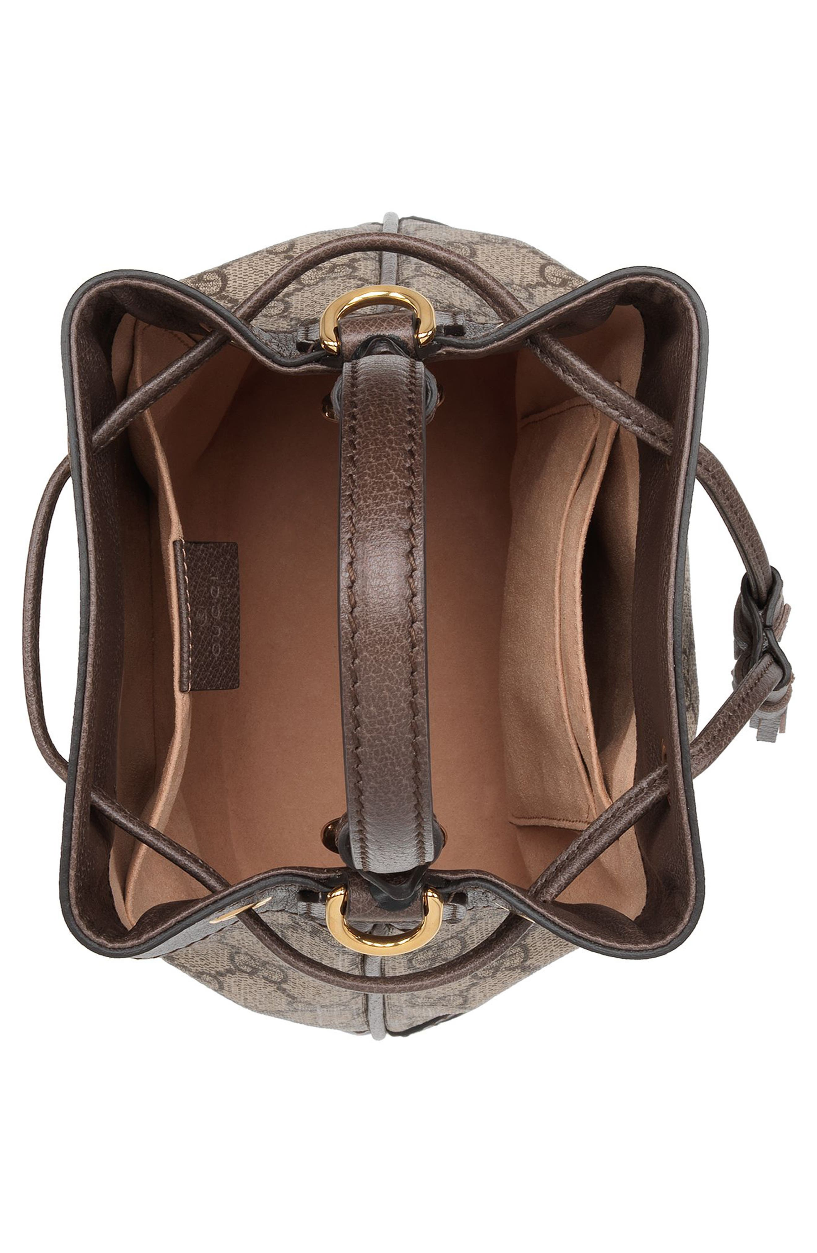 Small Ophidia GG Supreme Canvas Bucket Bag,                             Alternate thumbnail 3, color,                             BEIGE EBONY/ NEW ACERO
