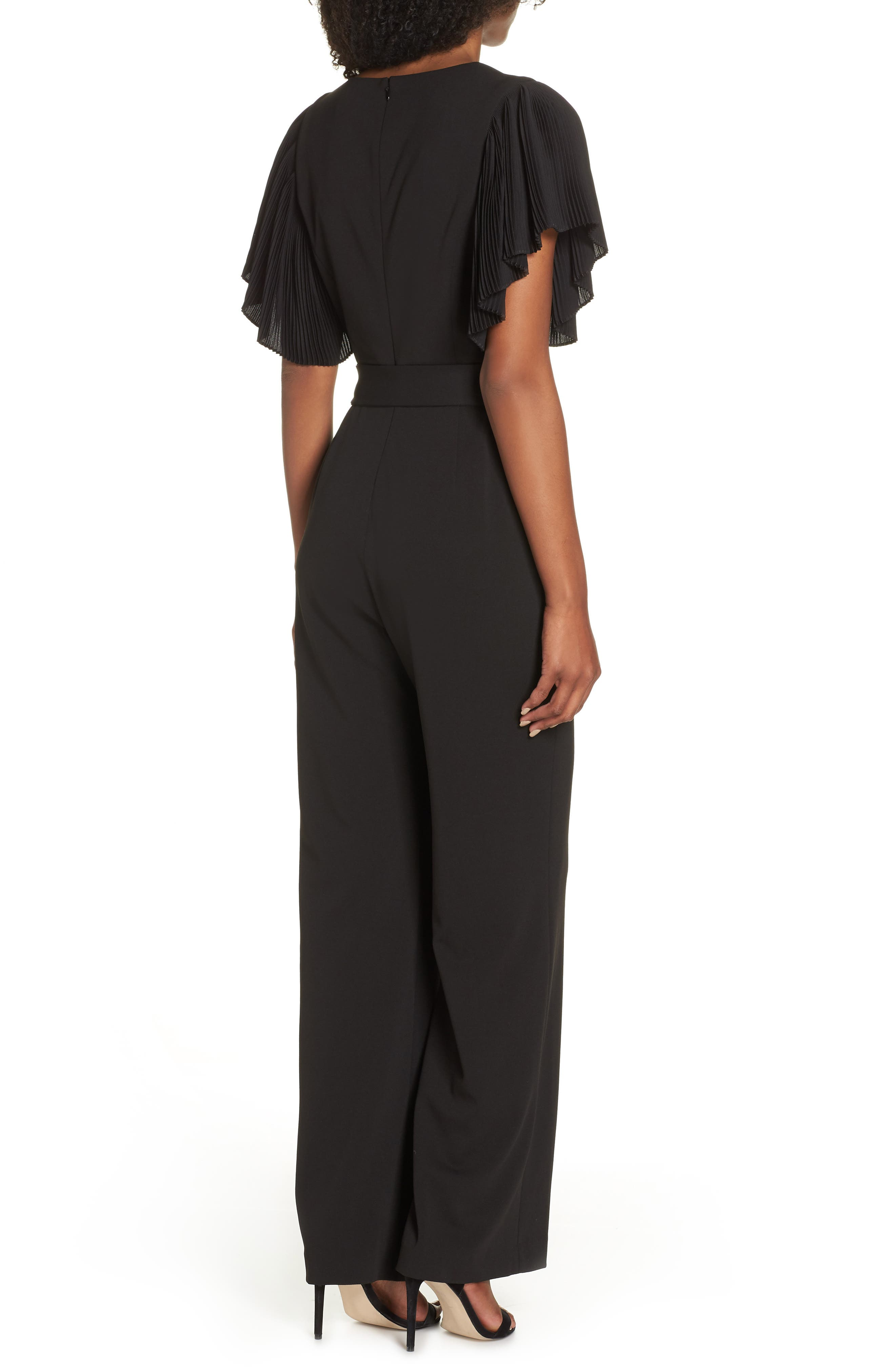 Pleat Sleeve Jumpsuit,                             Alternate thumbnail 2, color,                             BLACK