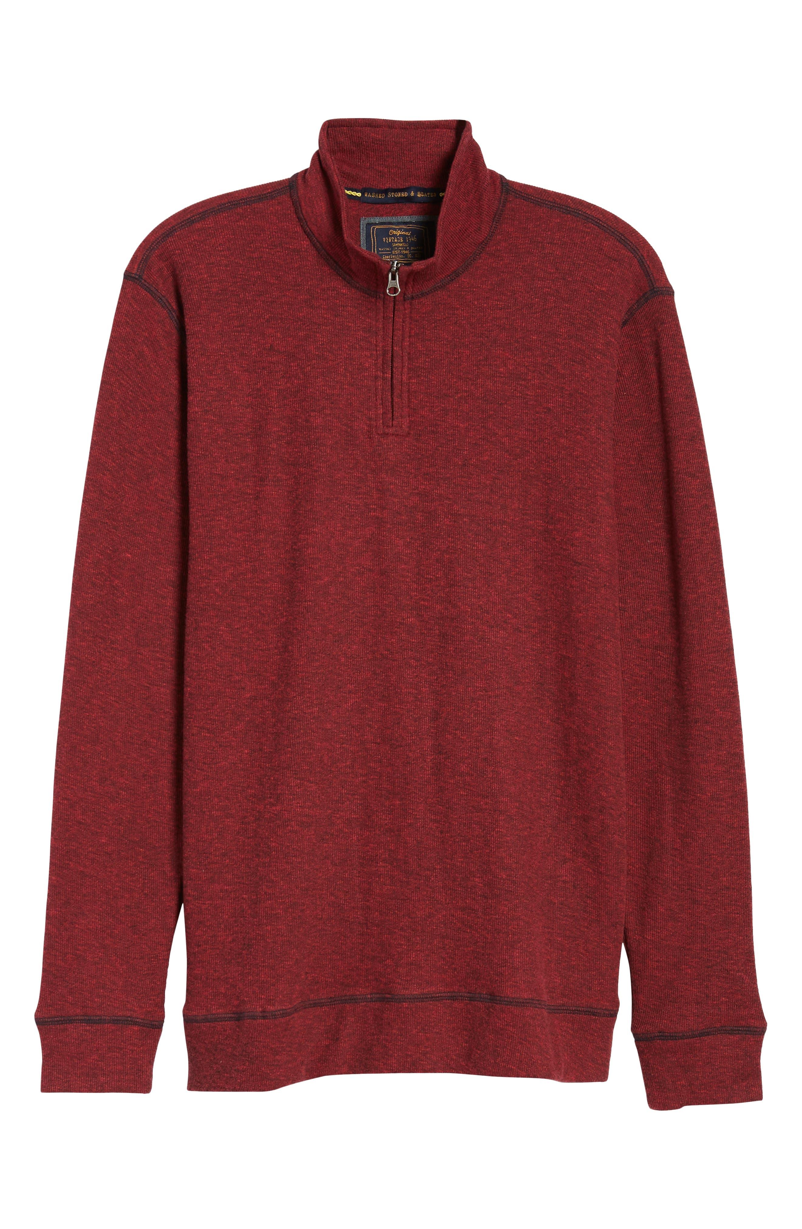Regular Fit Ribbed Quarter Zip Shirt,                             Alternate thumbnail 6, color,                             MOLTEN LAVA