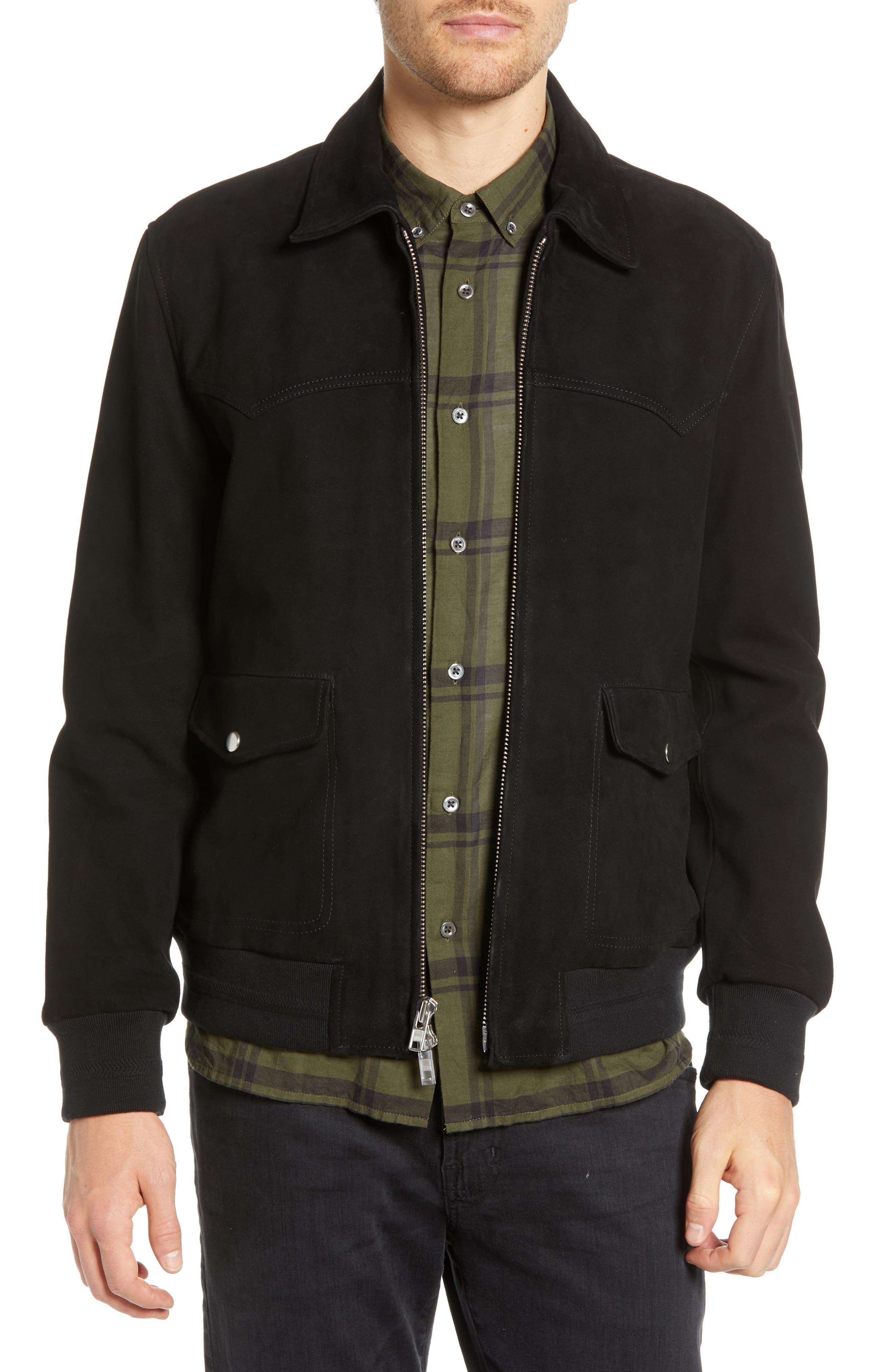 Baldwin Regular Fit Suede Western Jacket, Black