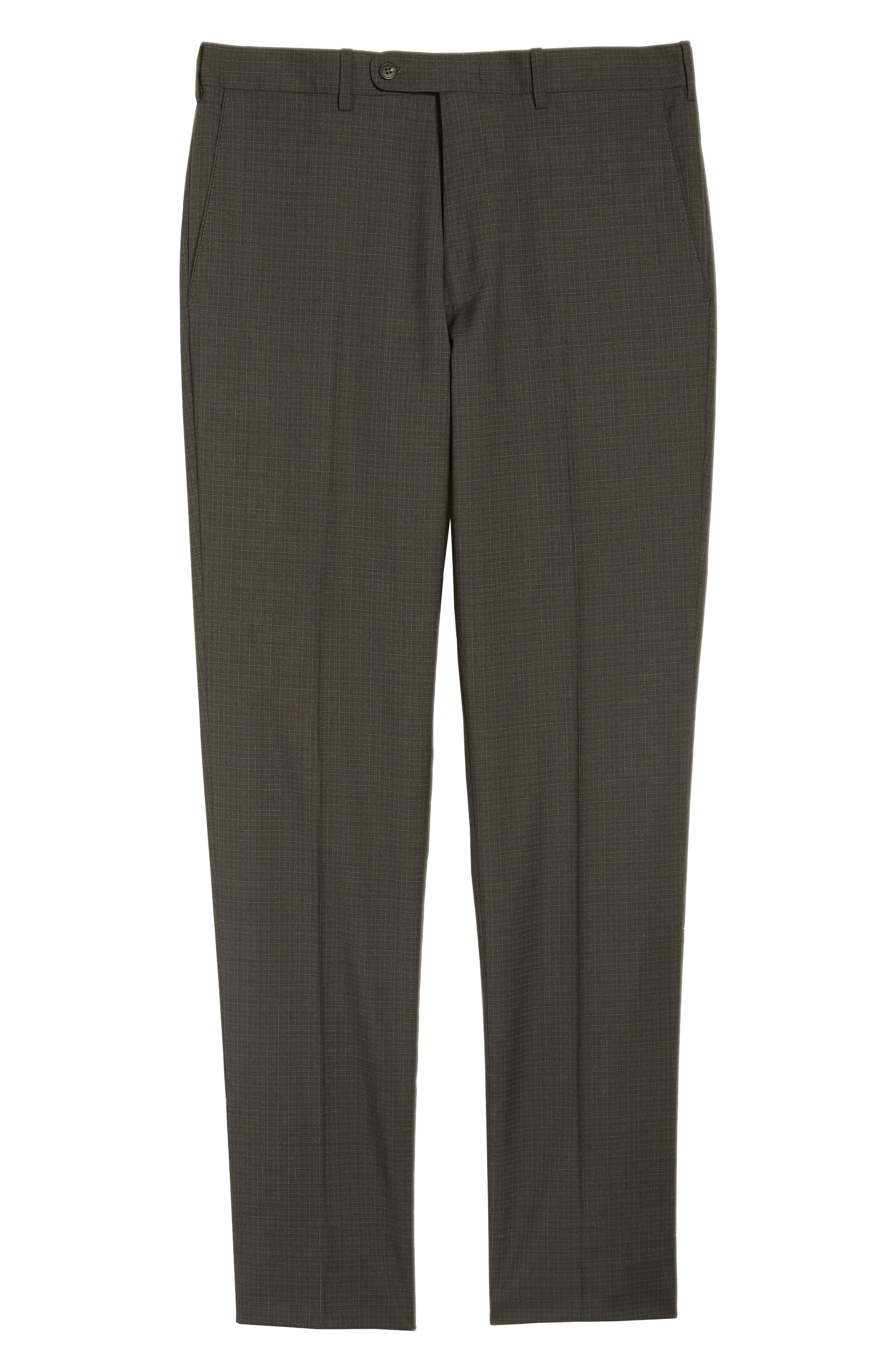 Flat Front Check Wool Trousers,                             Alternate thumbnail 17, color,
