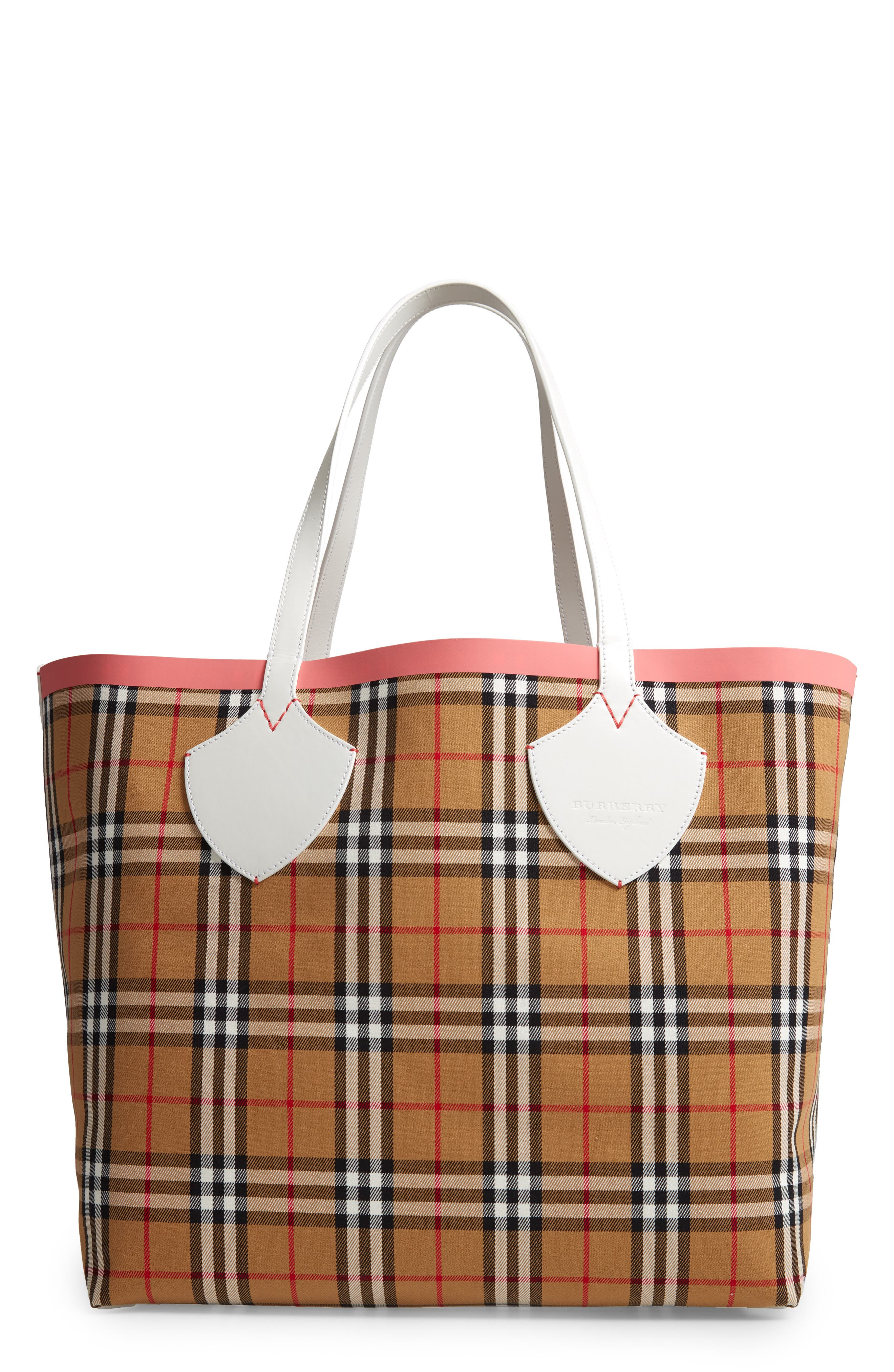 Giant Check Reversible Tote,                             Main thumbnail 1, color,                             BEIGE/ PINK/ CHALK WHITE