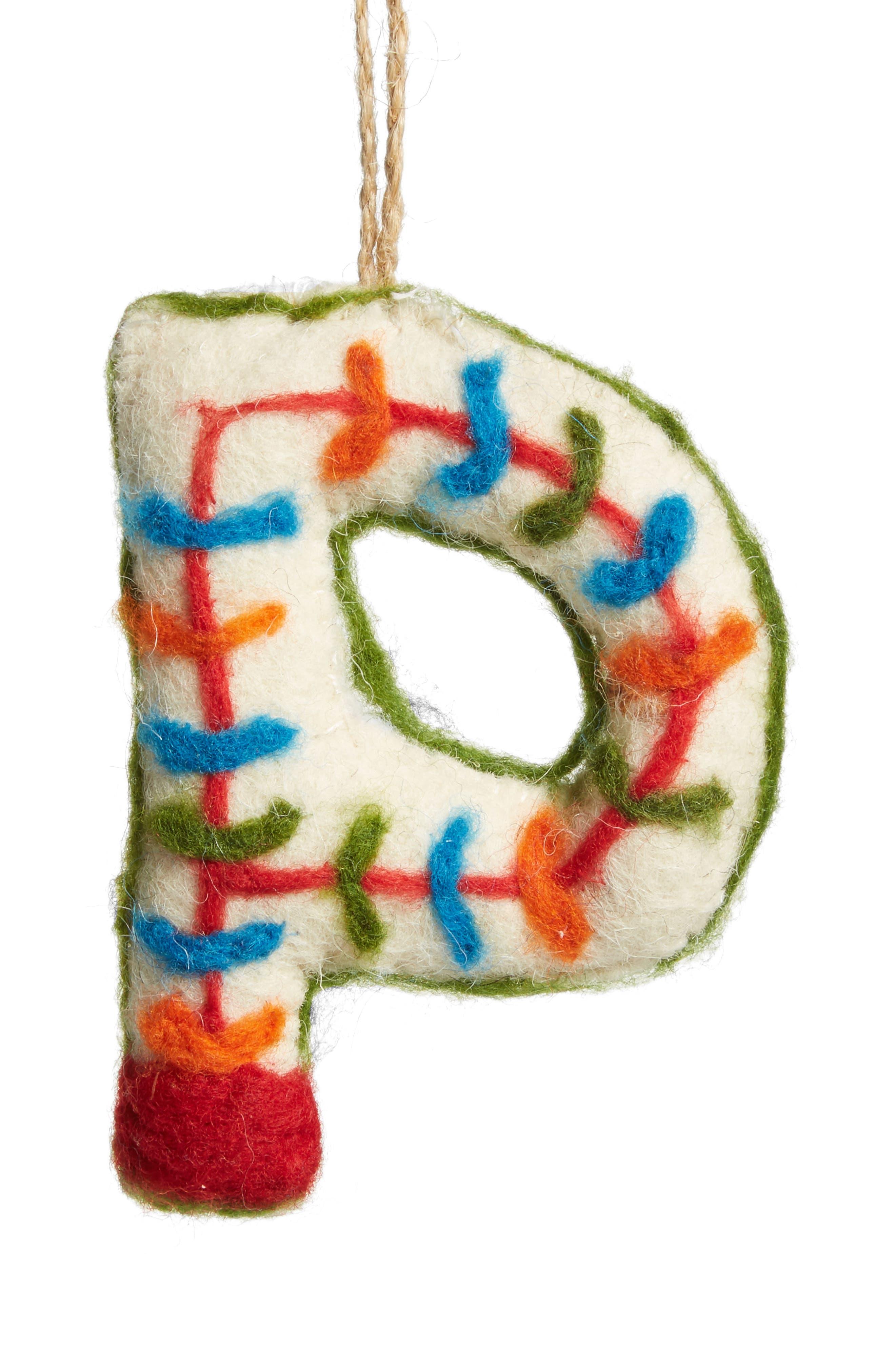 Global Folk Wool Monogram Ornament,                             Main thumbnail 16, color,