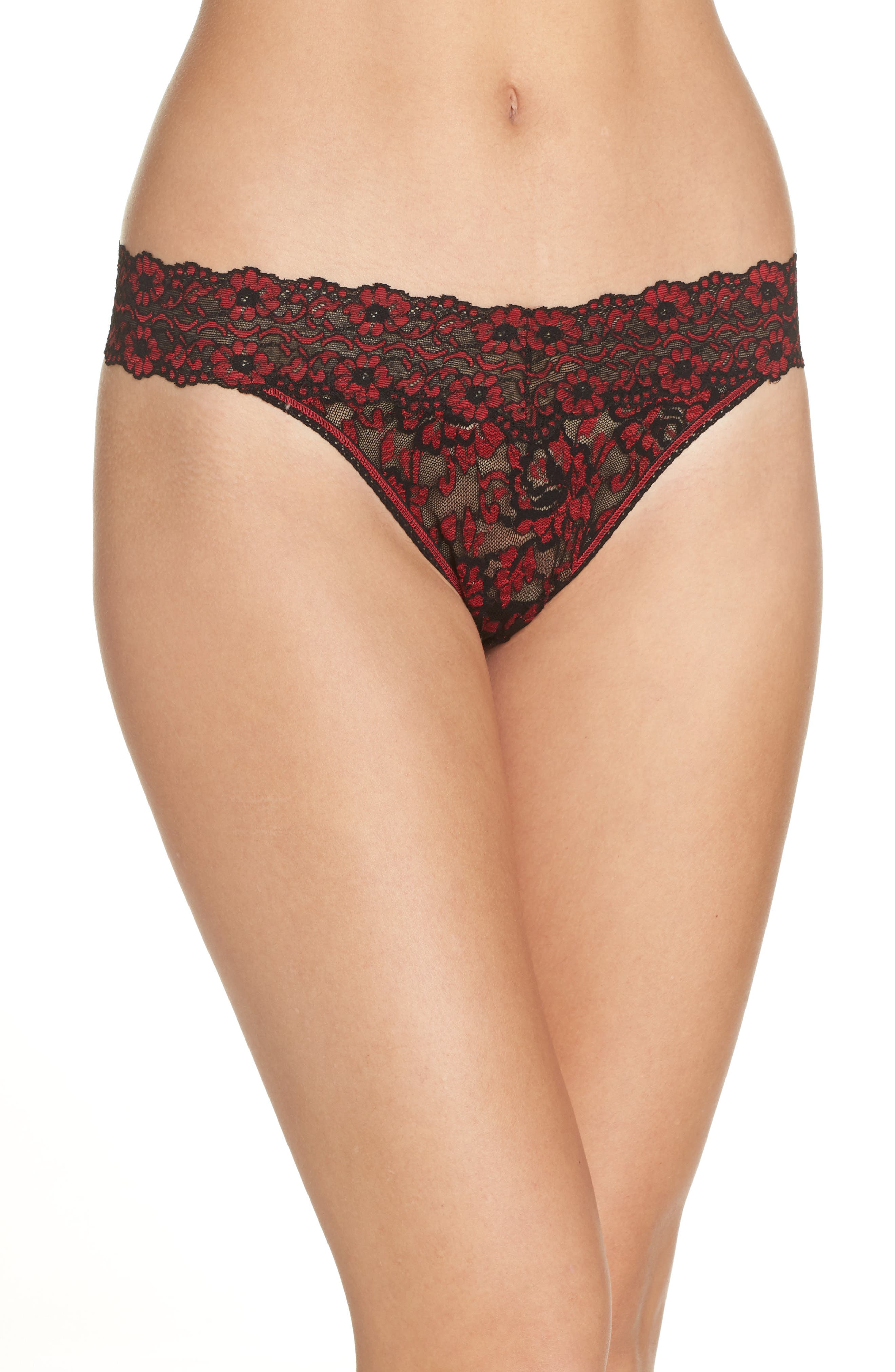 Cross Dyed Regular Rise Thong,                         Main,                         color, BLACK/ RED