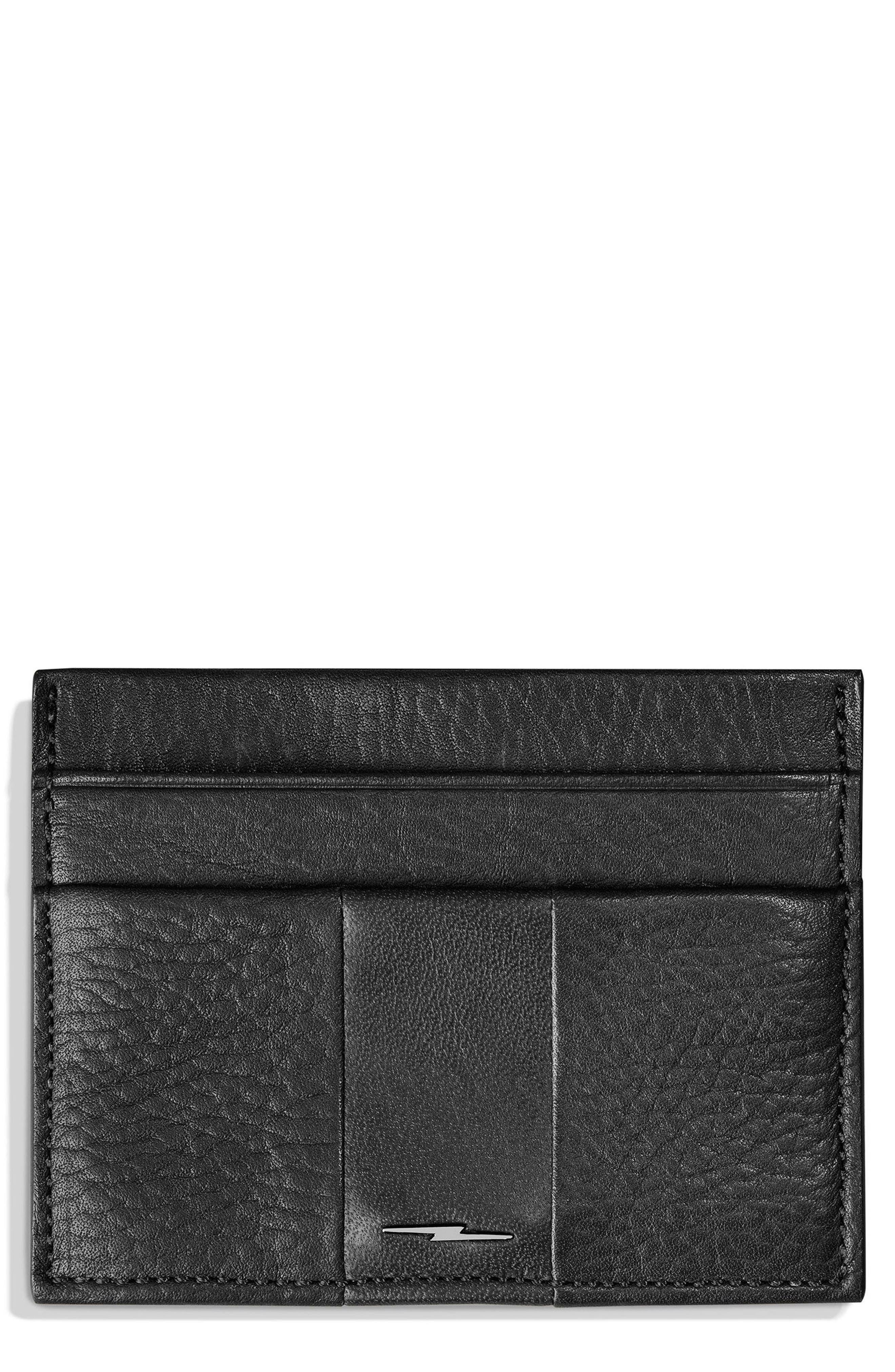 Bolt Leather Card Case,                         Main,                         color, BLACK