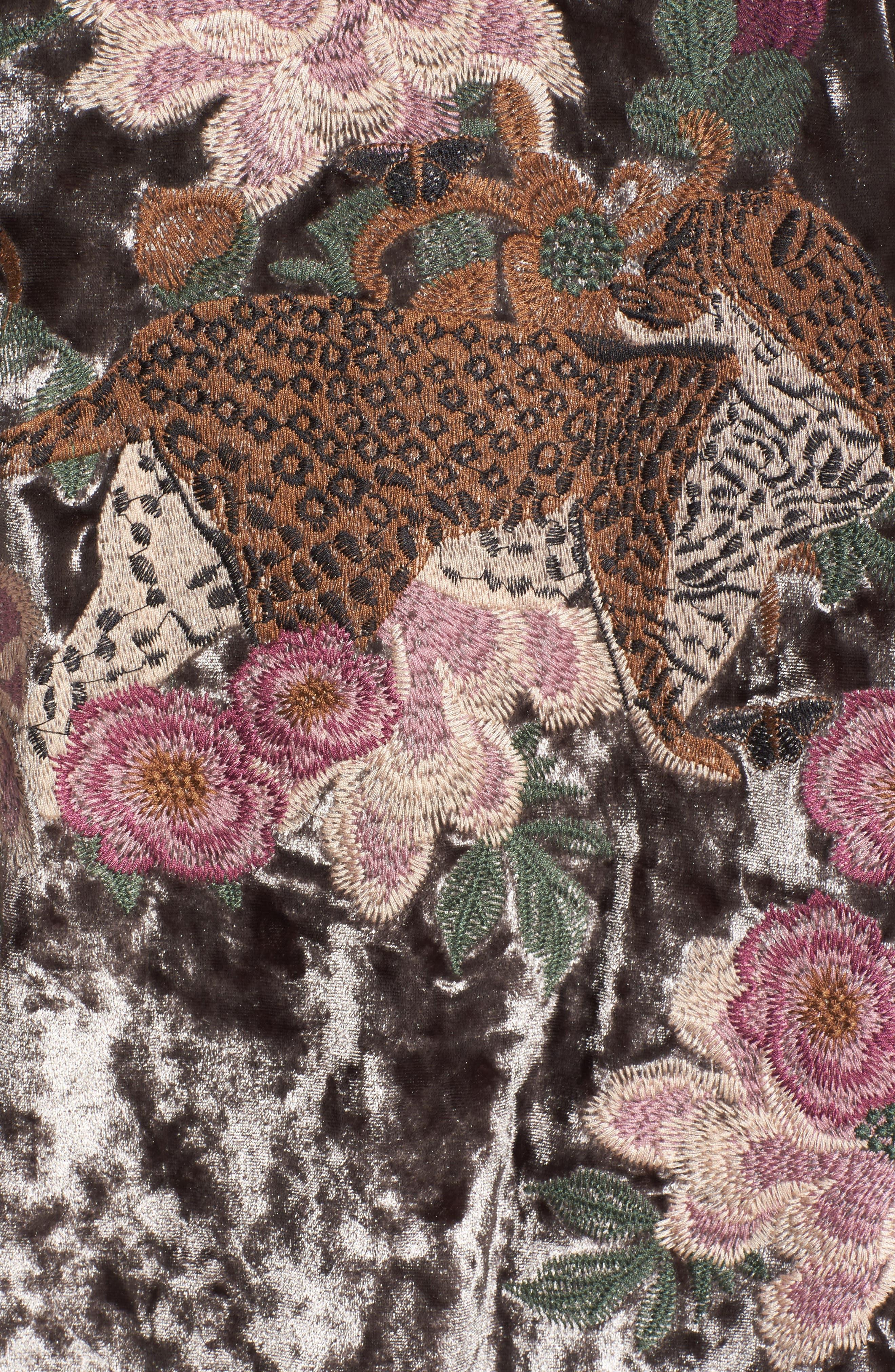 Embroidered Velvet Kimono Jacket,                             Alternate thumbnail 12, color,