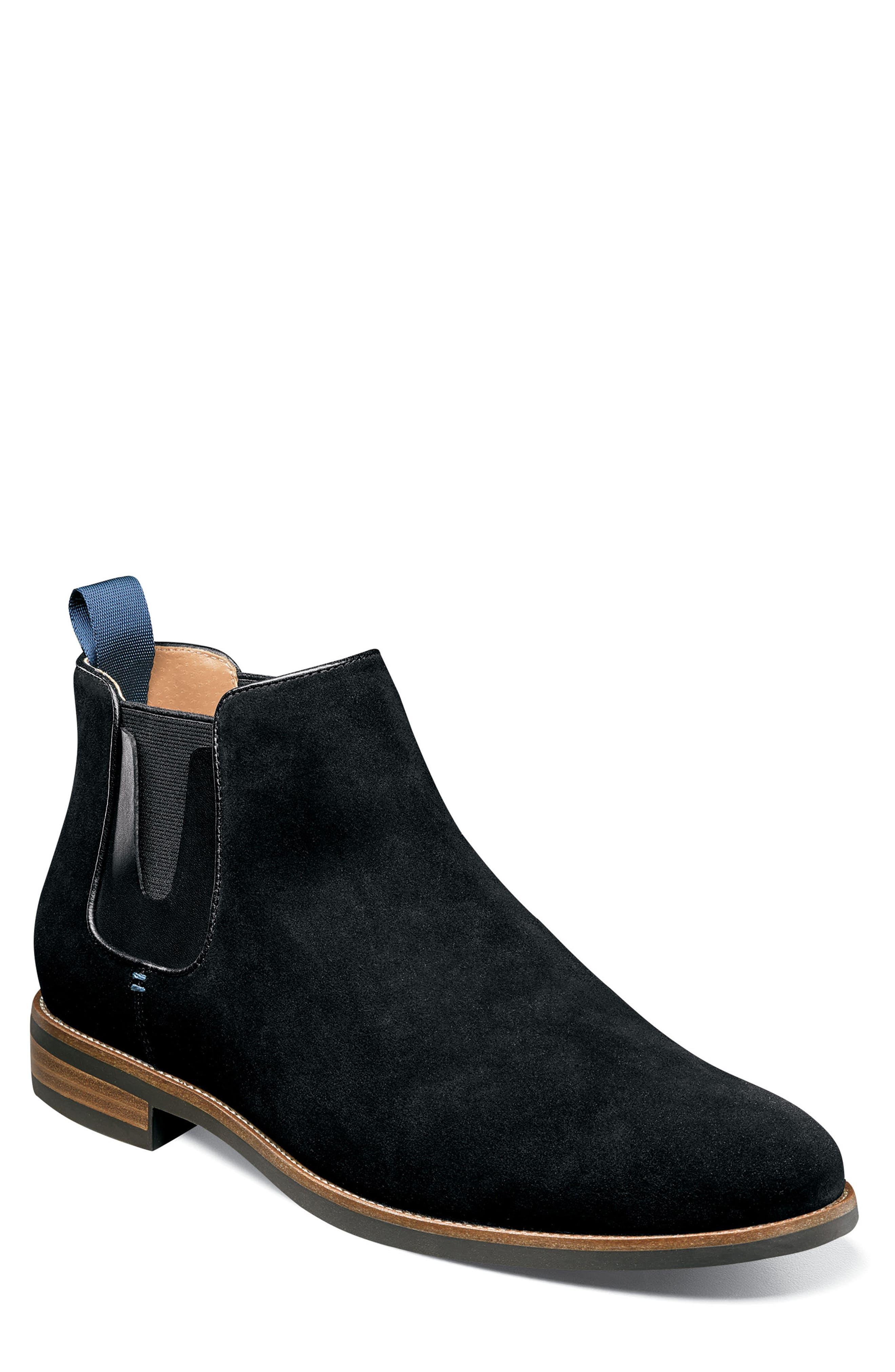 Uptown Plain Toe Mid Chelsea Boot,                             Main thumbnail 1, color,                             BLACK SUEDE