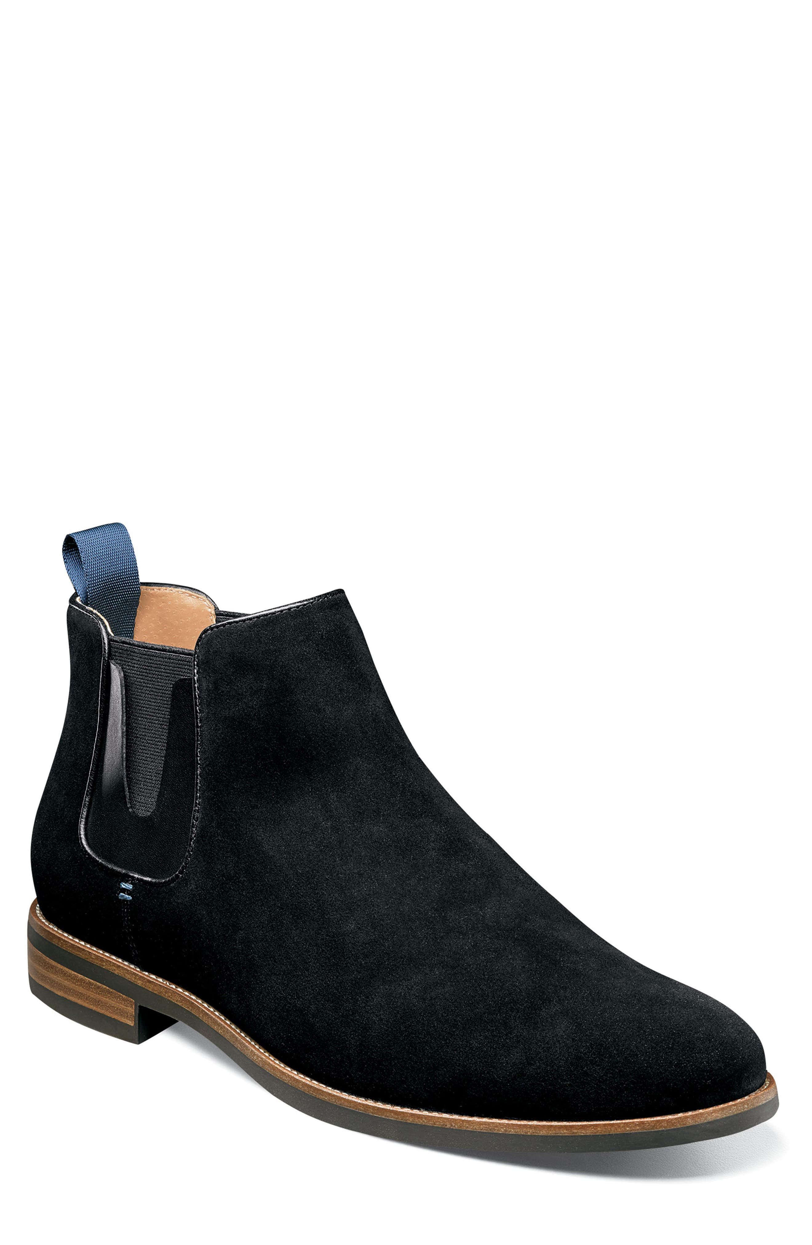 FLORSHEIM Uptown Plain Toe Mid Chelsea Boot in Black Suede