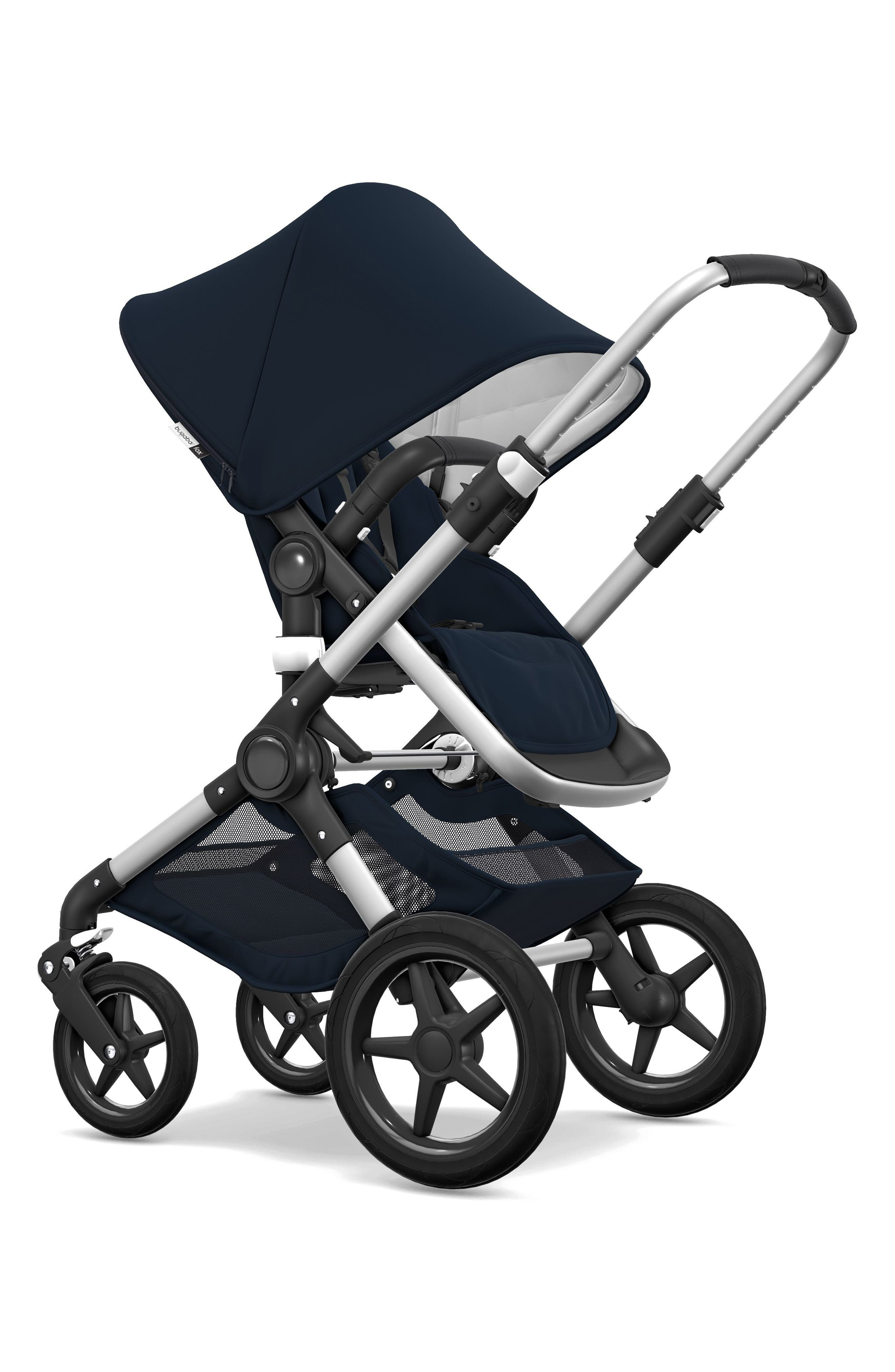 BUGABOO,                             Fox Classic Complete Stroller with Bassinet,                             Alternate thumbnail 5, color,                             NAVY/ ALUMINUM