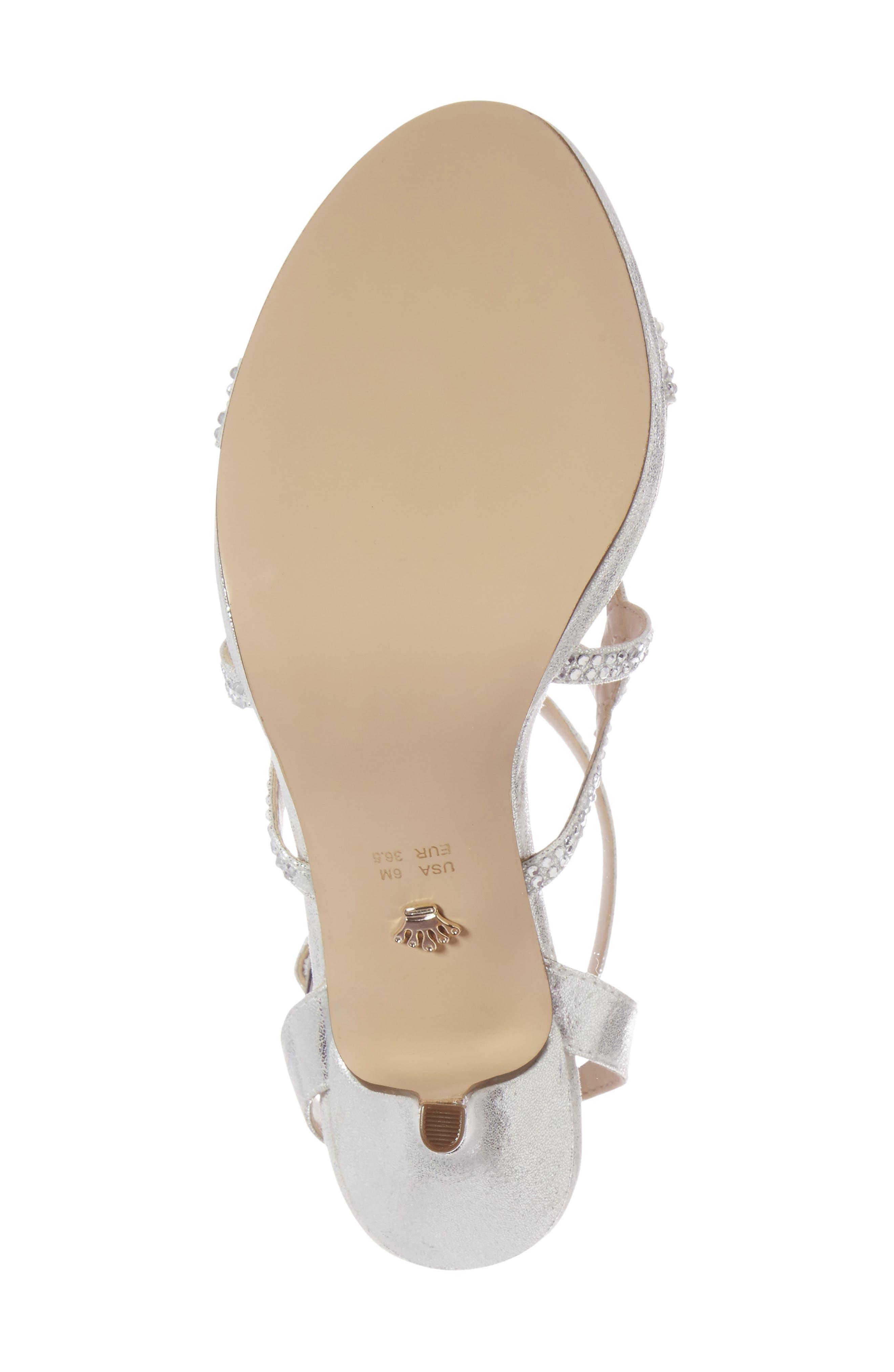 Varsha Crystal Embellished Evening Sandal,                             Alternate thumbnail 5, color,                             SILVER FAUX SUEDE