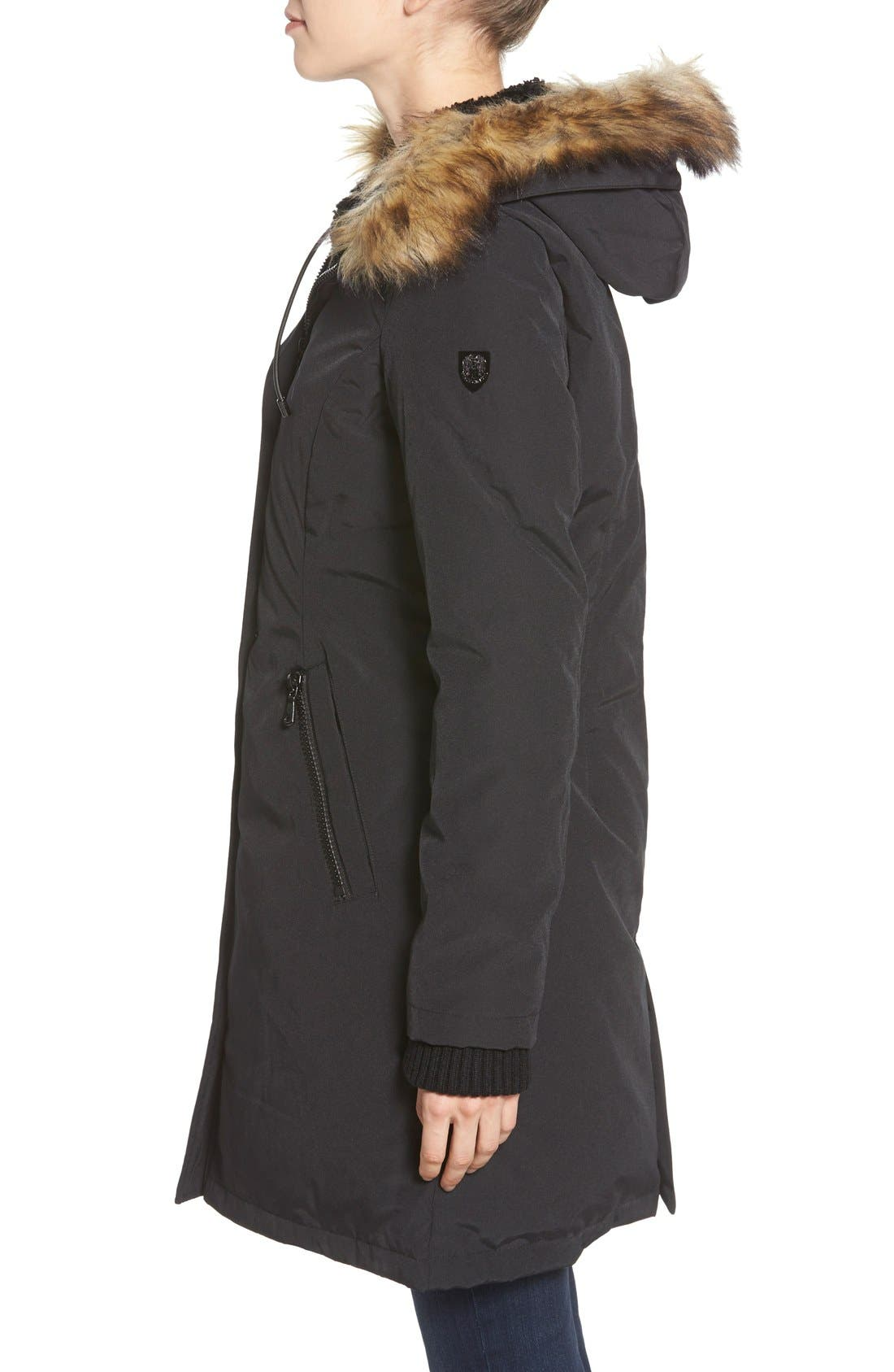 Down & Feather Fill Parka with Faux Fur Trim,                             Alternate thumbnail 11, color,