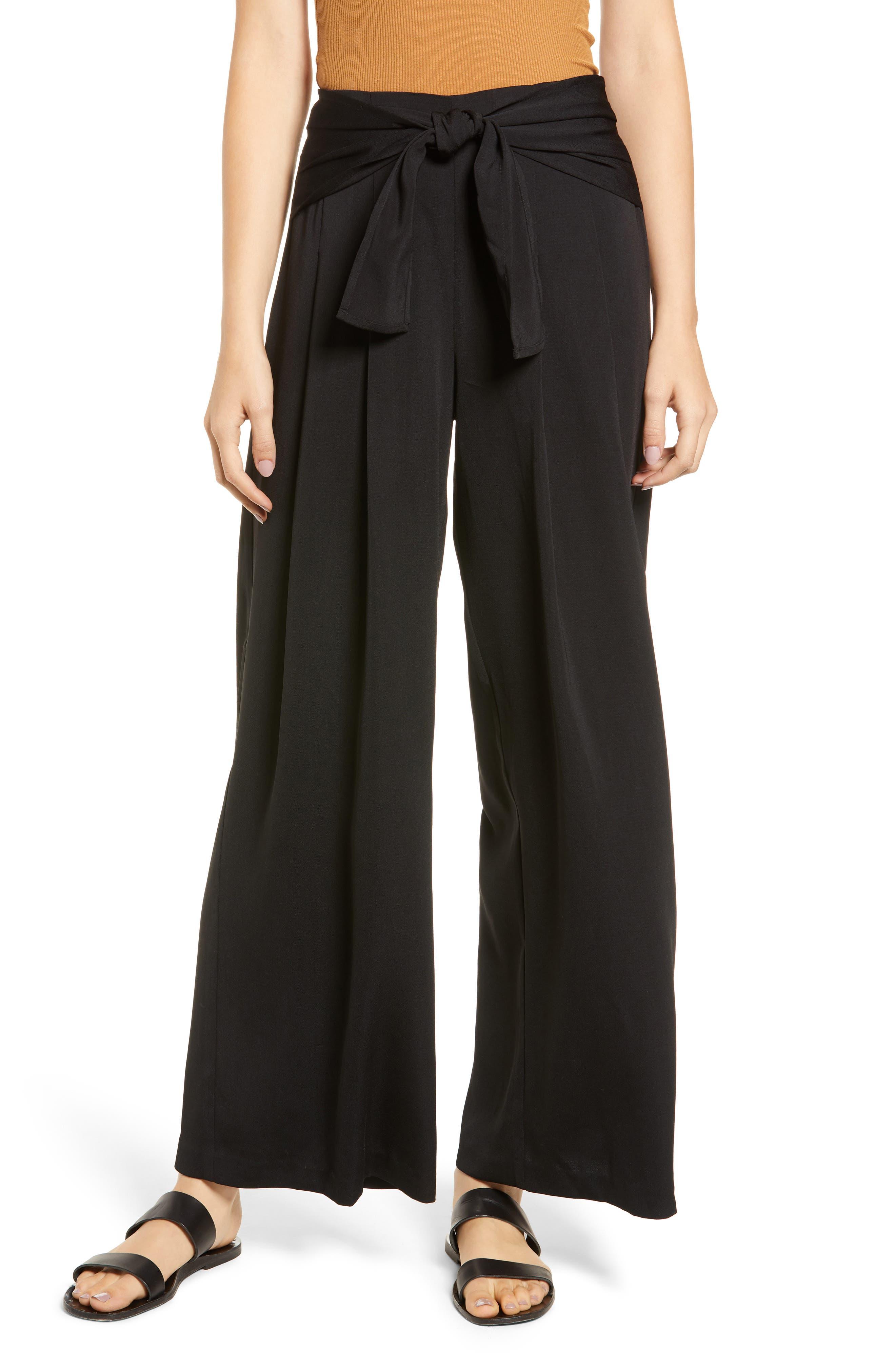 Tie Waist Wide Leg Pants,                         Main,                         color, BLACK