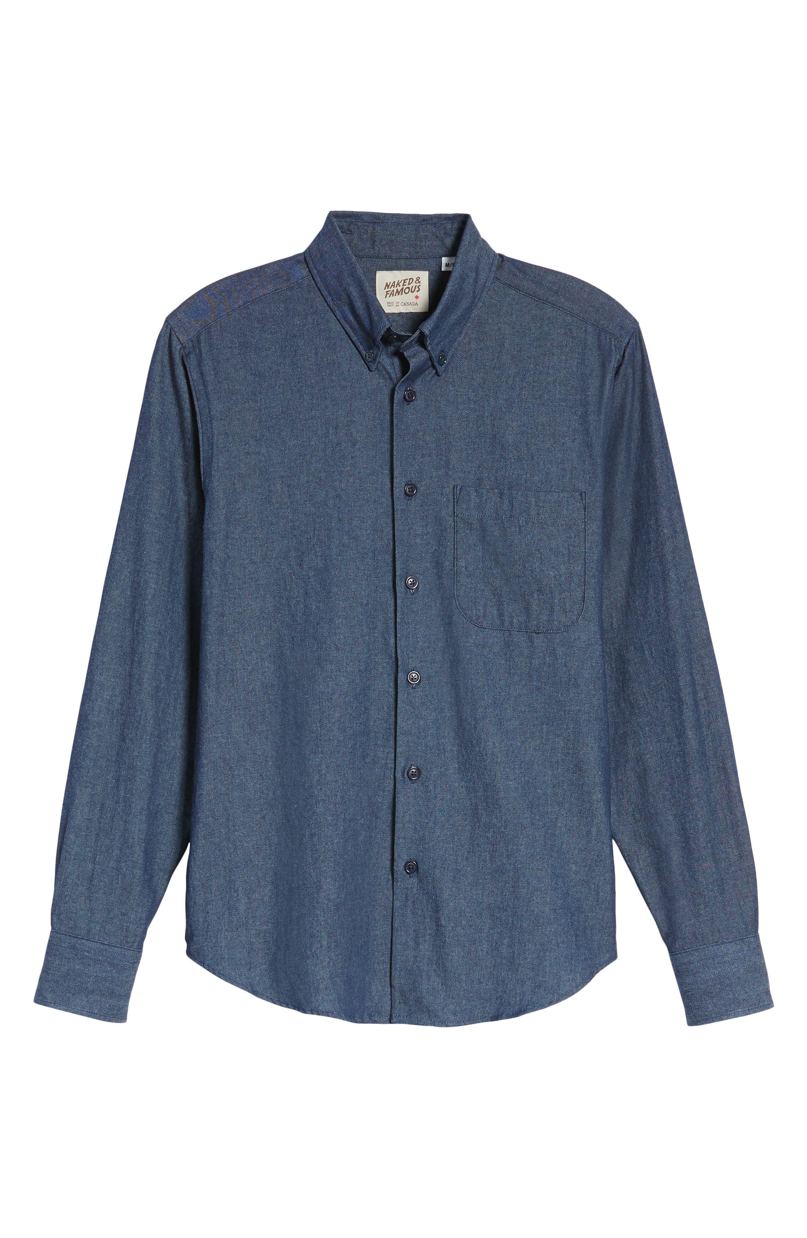 Indigo Long Sleeve Shirt,                             Alternate thumbnail 6, color,                             401