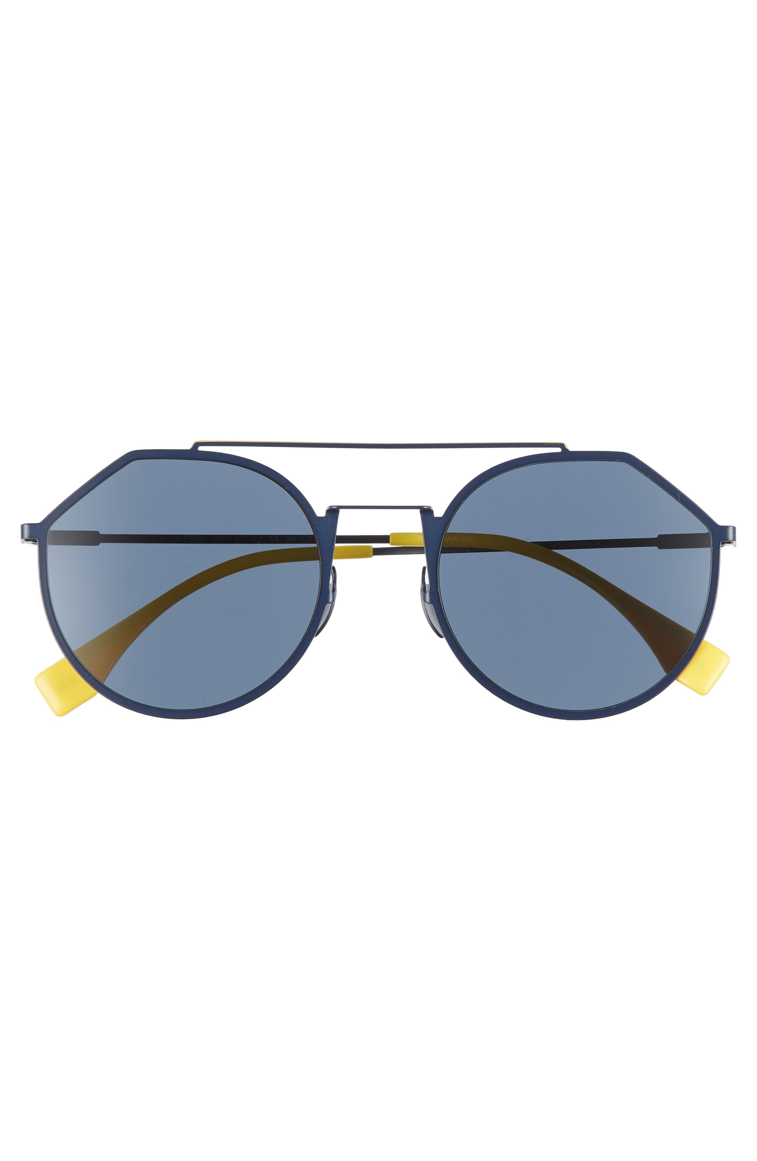 54mm Polarized Round Sunglasses,                             Alternate thumbnail 3, color,                             BLUE