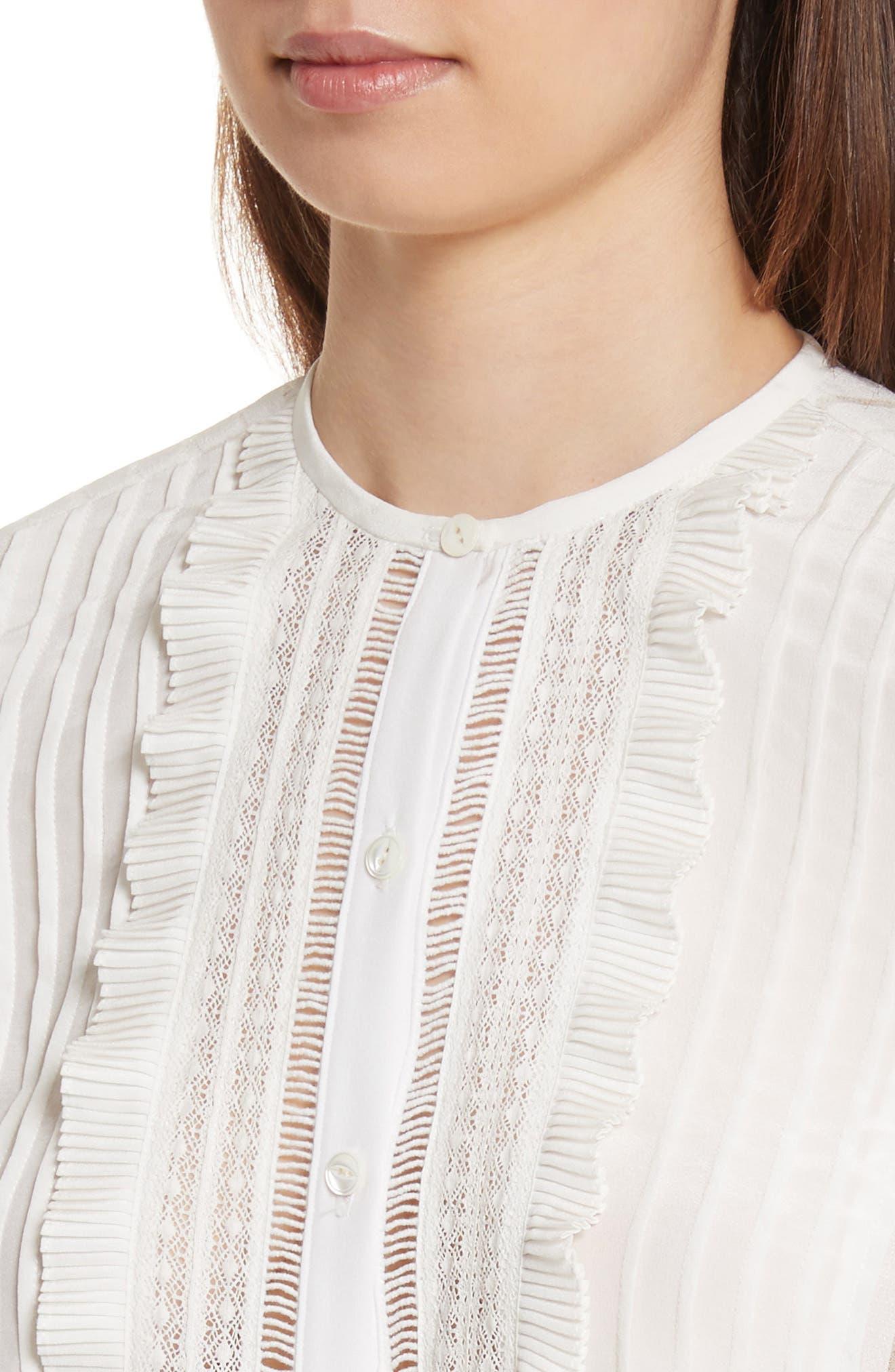 Silk & Lace Long Sleeve Blouse,                             Alternate thumbnail 4, color,                             178