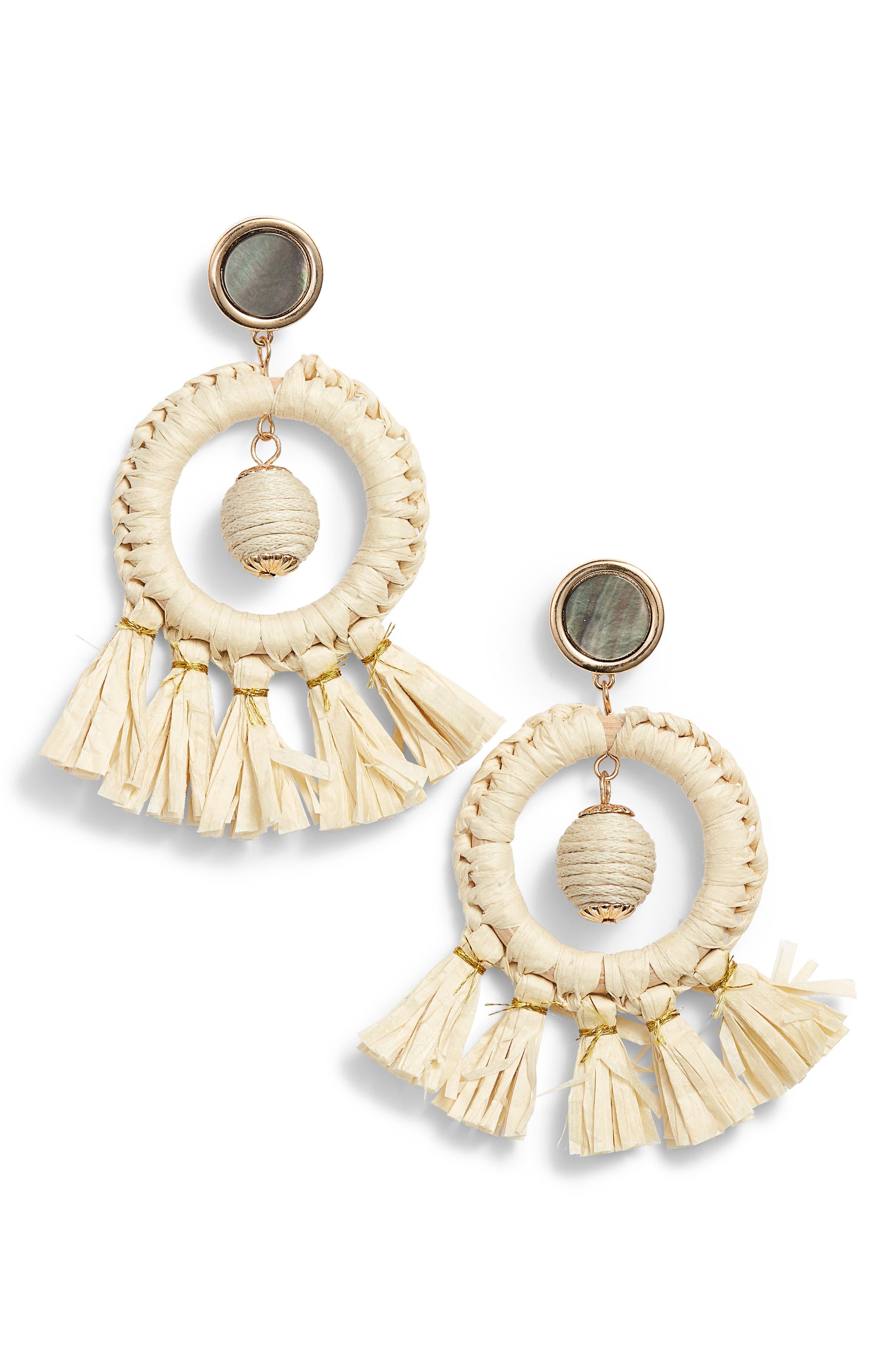 KITSCH Shell & Straw Drop Earrings, Main, color, 250