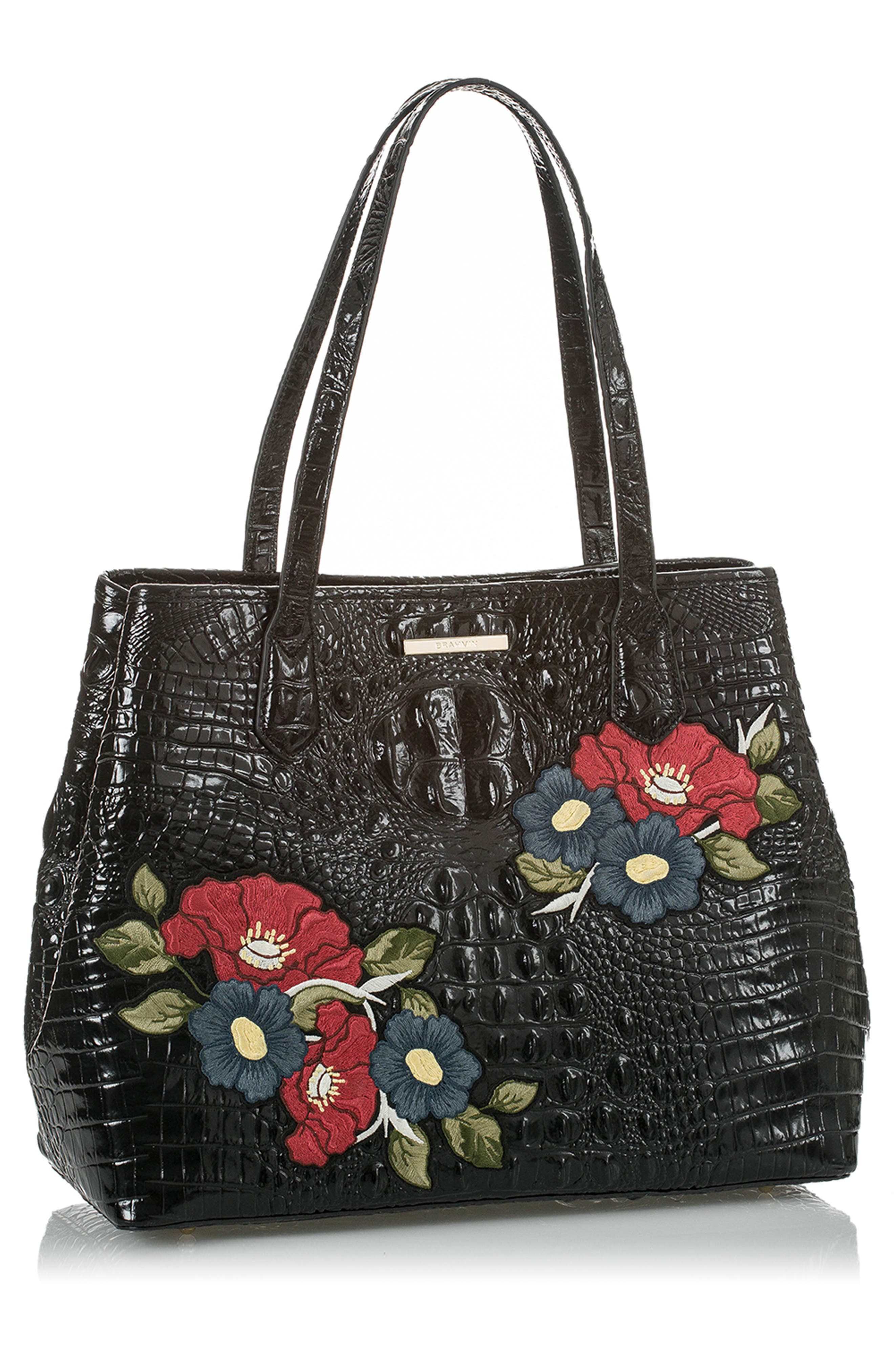 Medium Julian Embroidered Leather Tote,                             Alternate thumbnail 4, color,                             BLACK