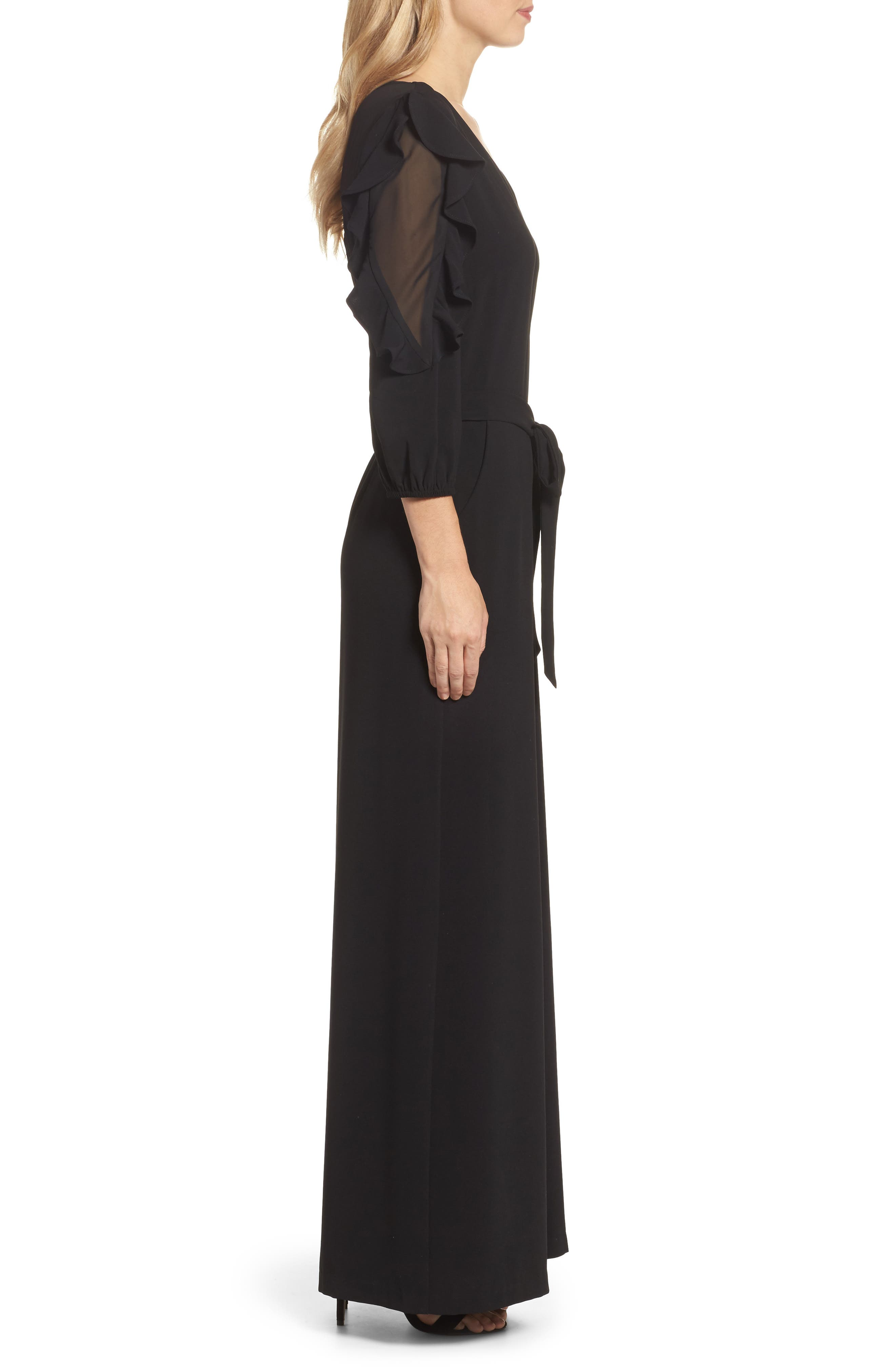 Tiered Sleeve Jumpsuit,                             Alternate thumbnail 3, color,                             001