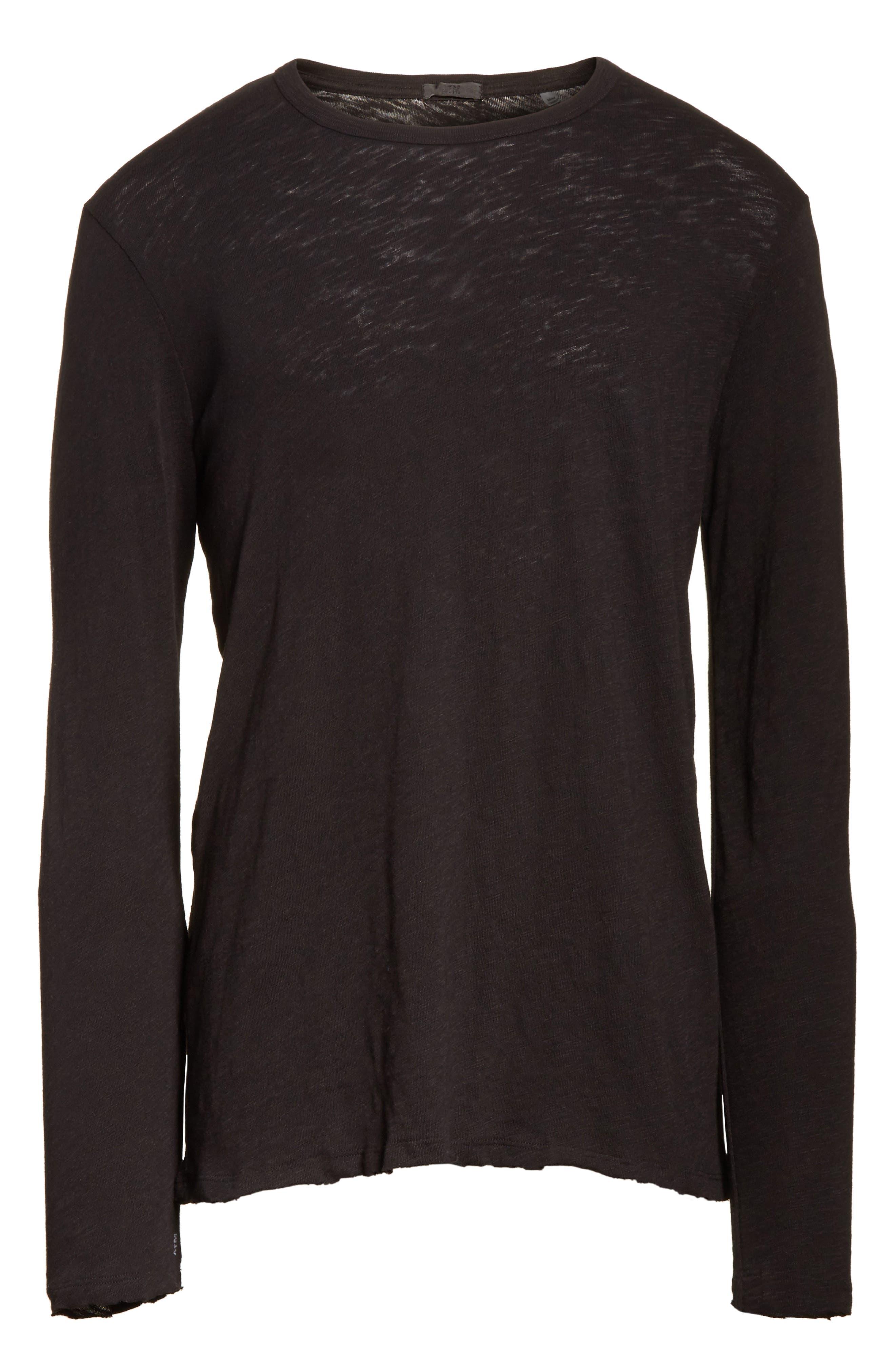 Destroyed Long Sleeve T-Shirt,                             Alternate thumbnail 6, color,                             BLACK
