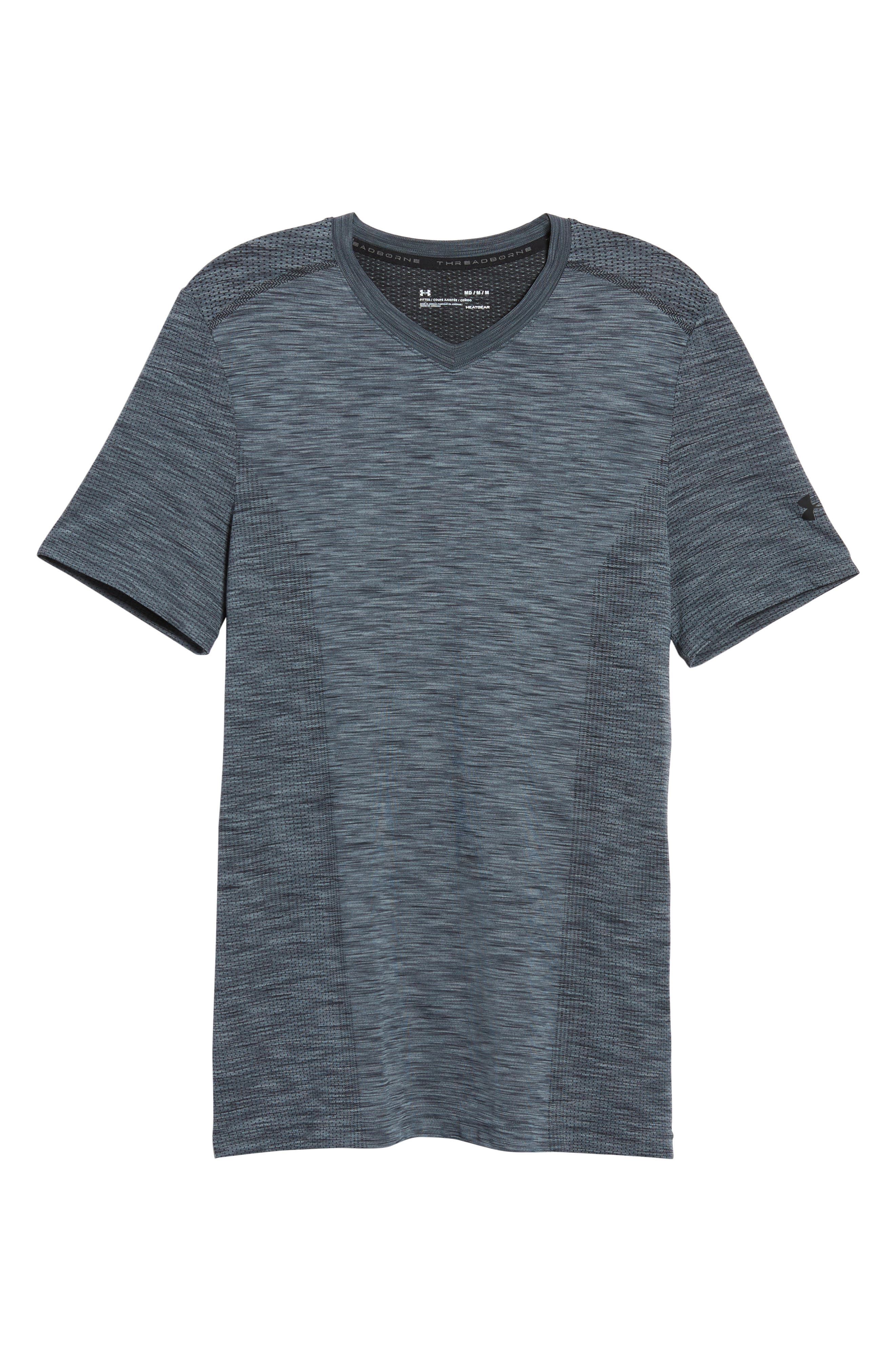 Regular Fit Threadborne T-Shirt,                             Alternate thumbnail 6, color,                             GRAPHITE/ BLACK