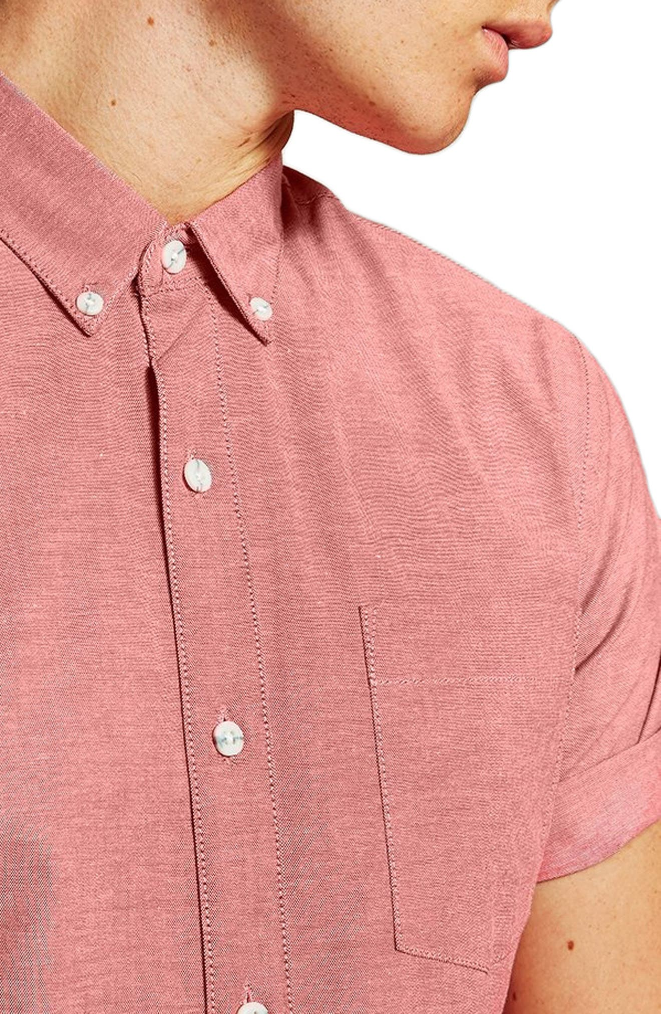 Muscle Fit Oxford Shirt,                             Alternate thumbnail 3, color,                             RED MULTI