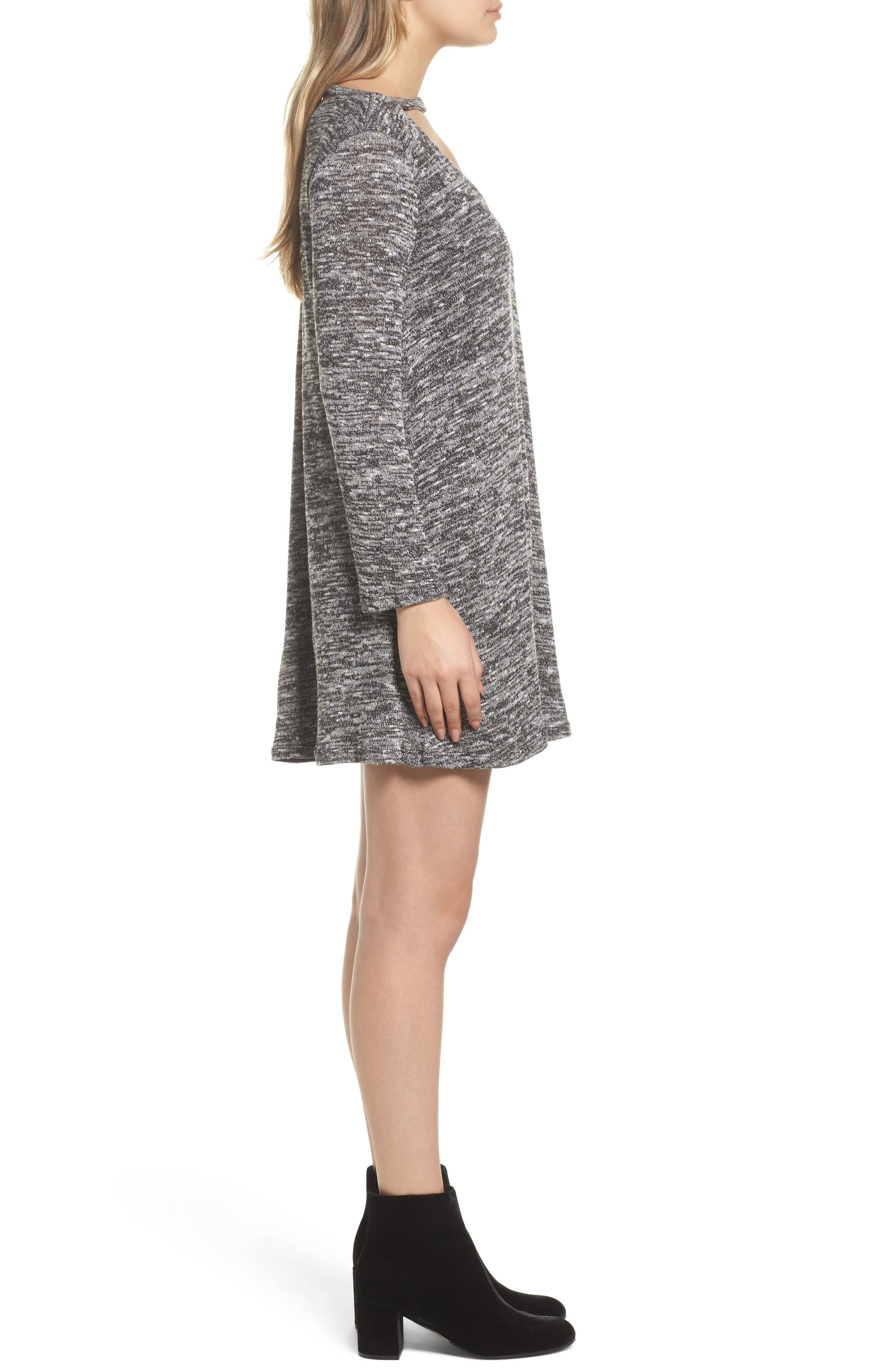Cutout Sweater Dress,                             Alternate thumbnail 3, color,                             004
