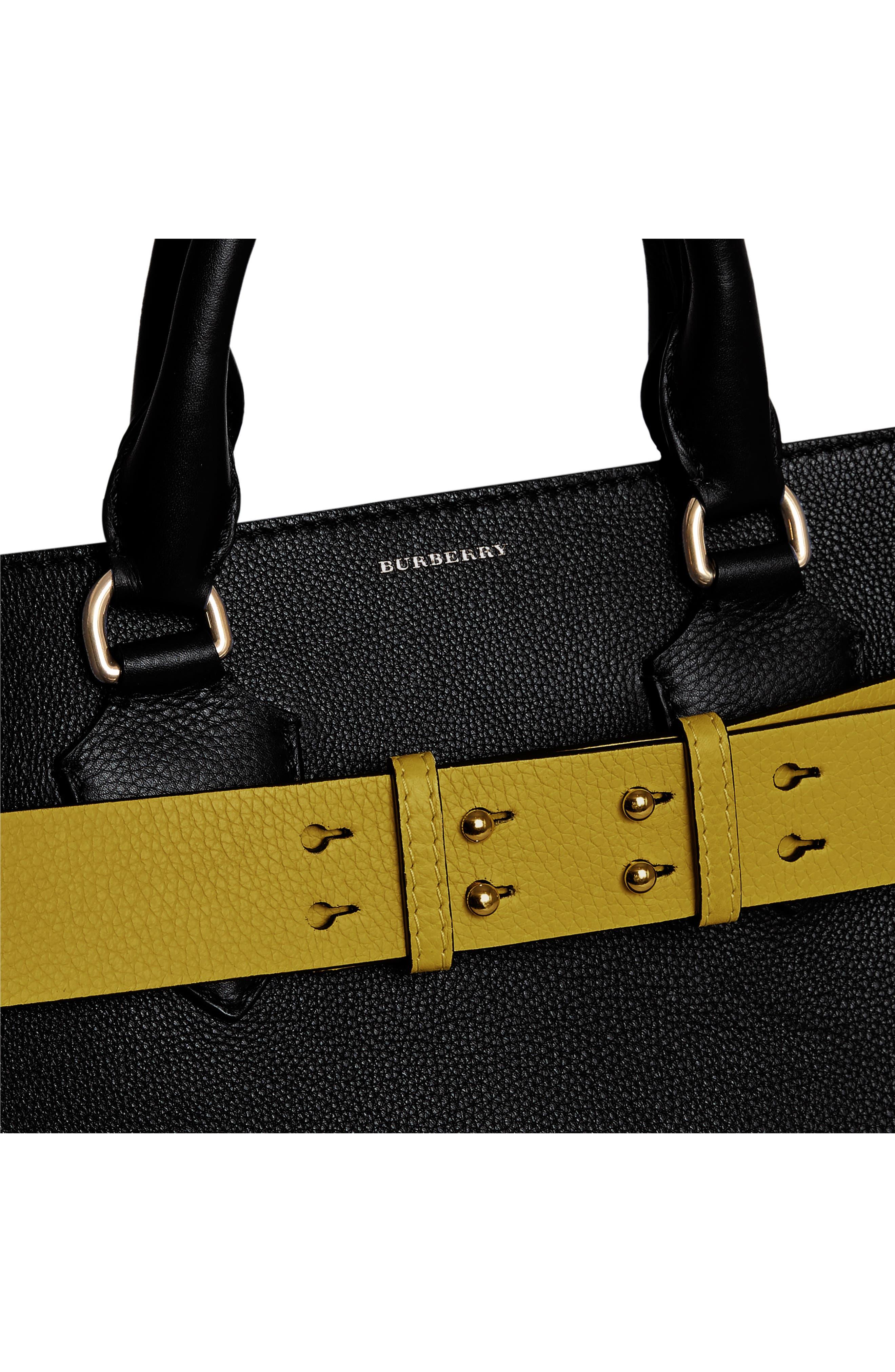 Medium Belt Bag Leather Tote,                             Alternate thumbnail 9, color,                             001