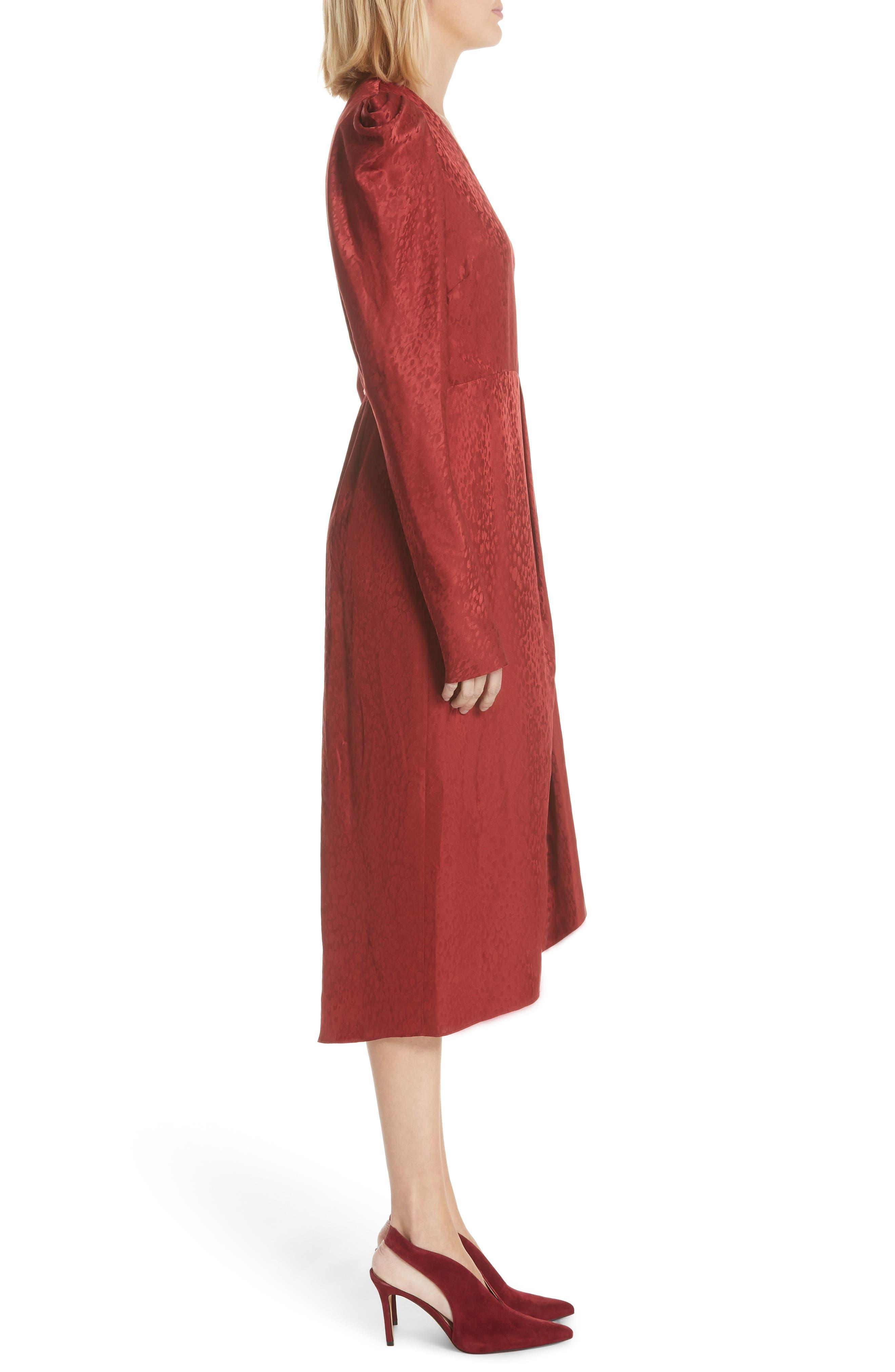 Carolina Puff Shoulder Silk Jacquard Dress,                             Alternate thumbnail 3, color,                             CRIMSON