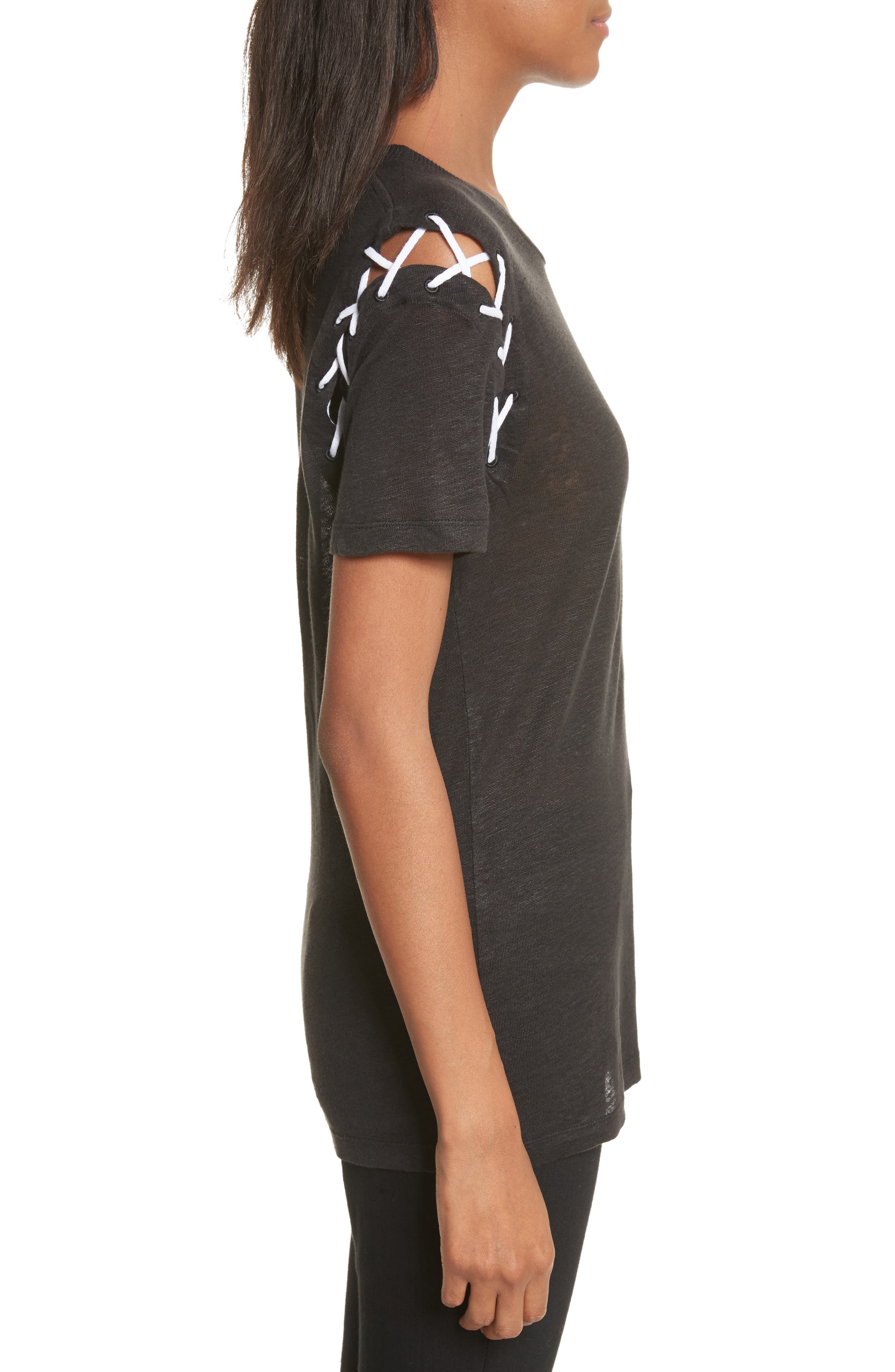 Melly Lace-Up Linen Tee,                             Alternate thumbnail 3, color,                             001