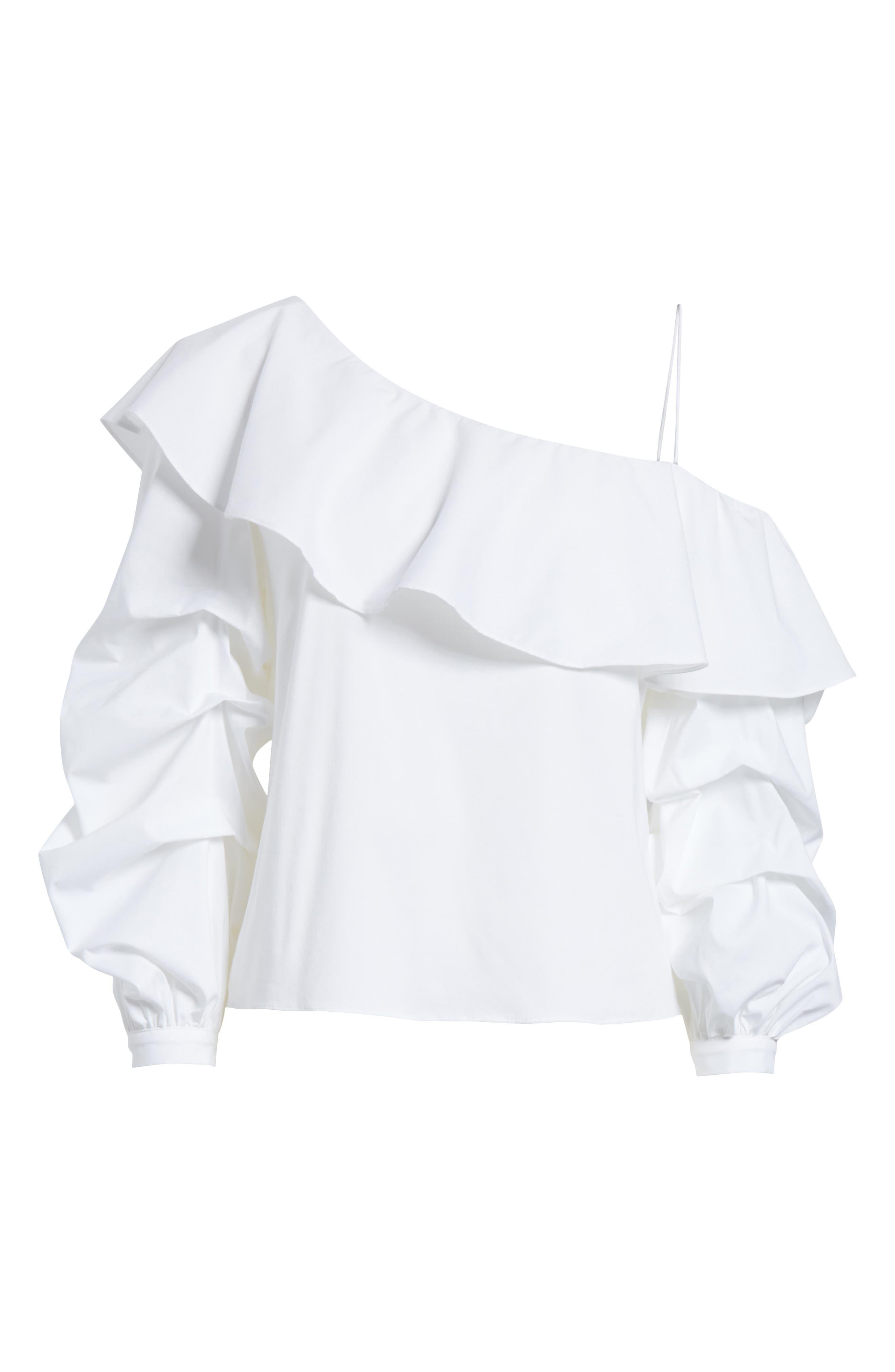Irvine Ruffle One-Shoulder Blouse,                             Alternate thumbnail 6, color,