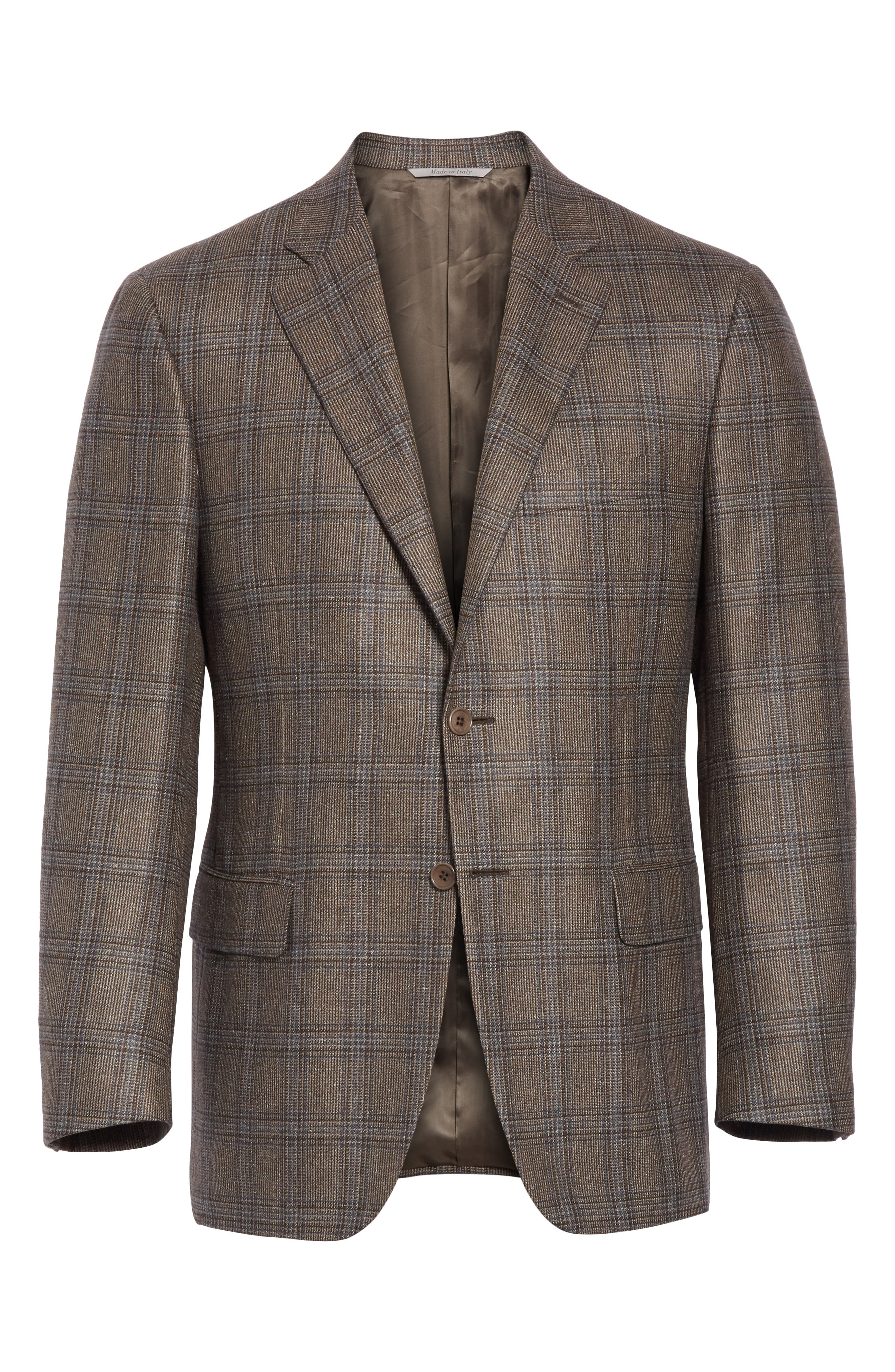 Classic Fit Plaid Silk & Wool Sport Coat,                             Alternate thumbnail 5, color,                             MED BROWN