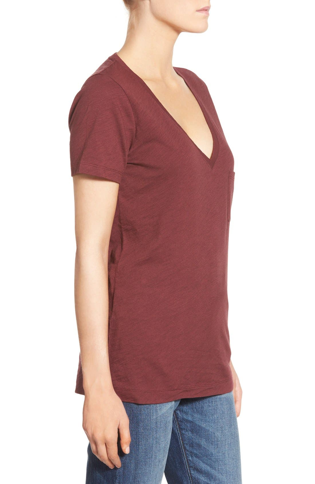 Whisper Cotton V-Neck Pocket Tee,                             Alternate thumbnail 129, color,