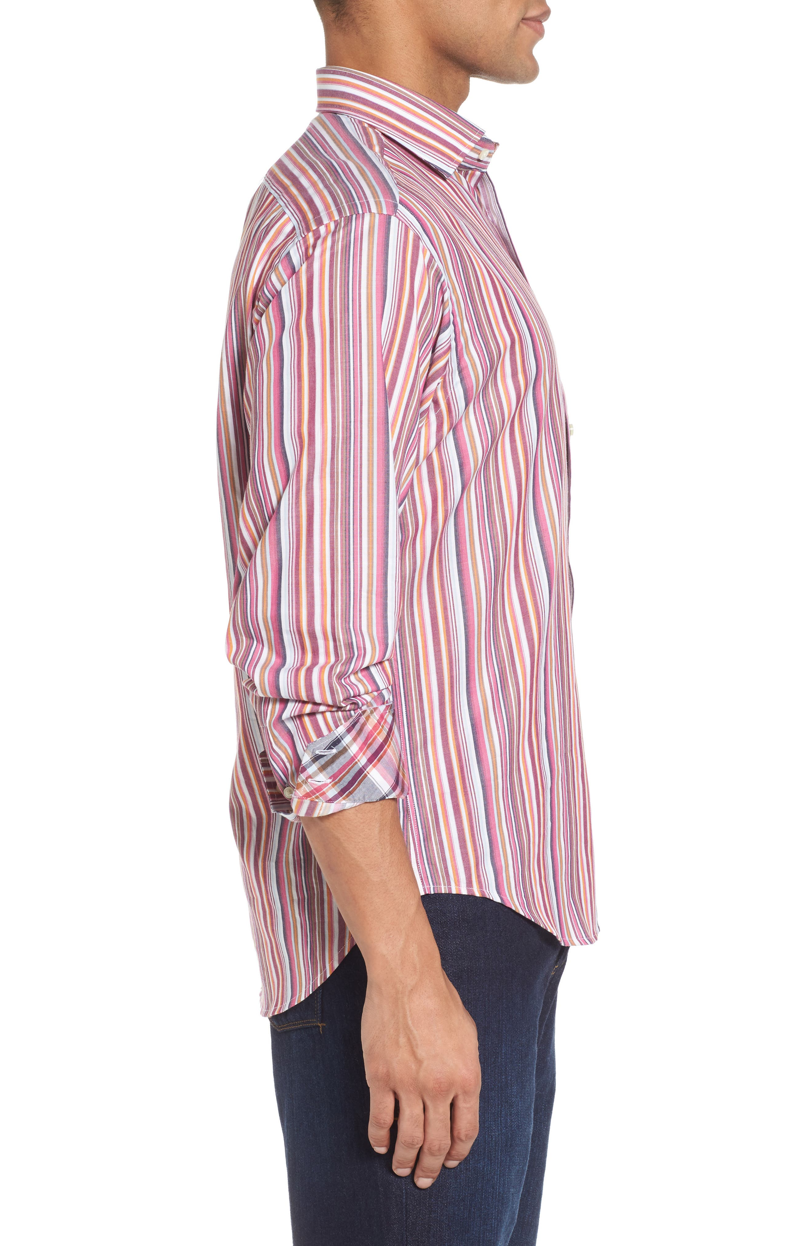 Regular Fit Stripe Sport Shirt,                             Alternate thumbnail 3, color,