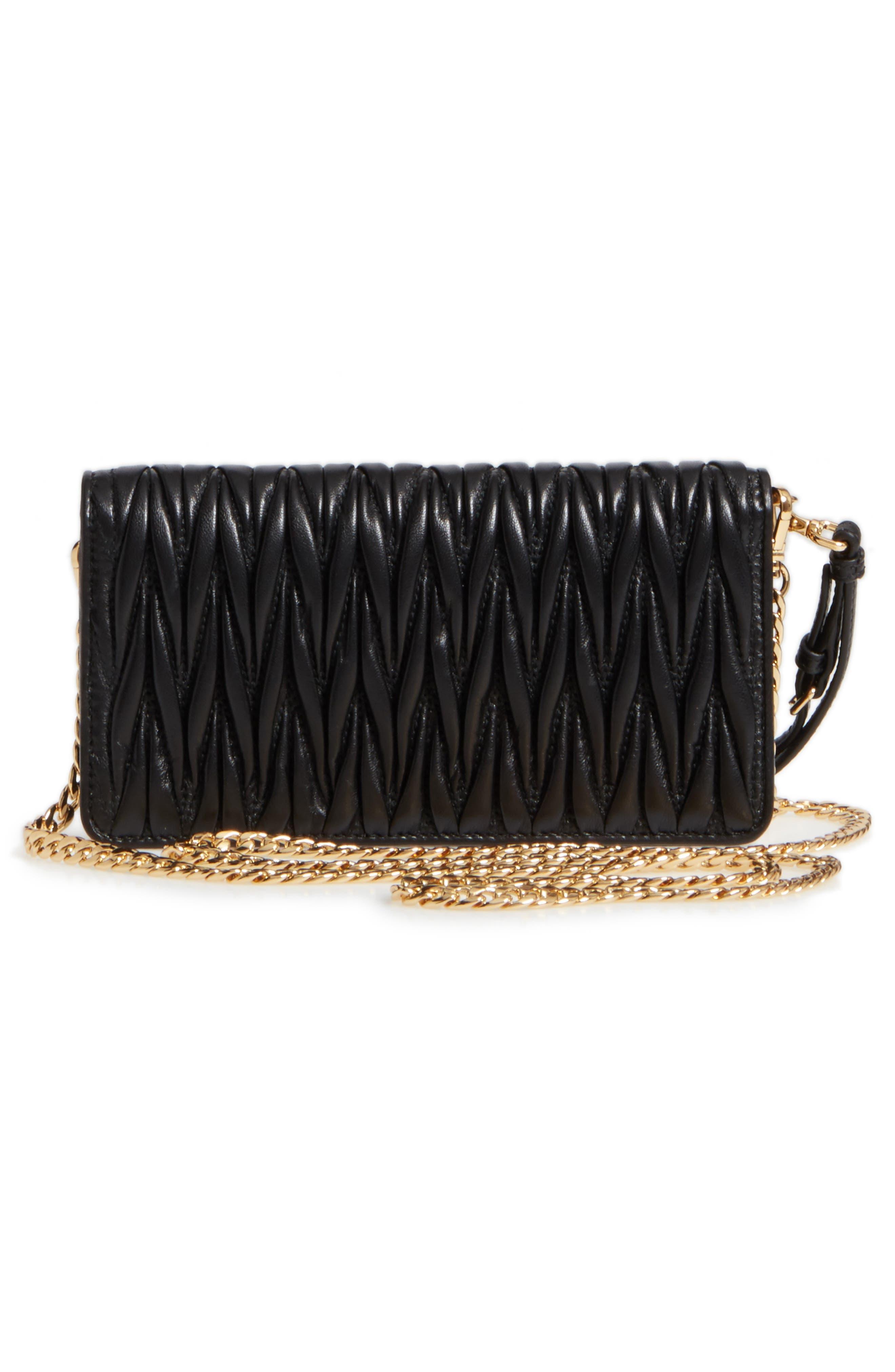 Matelassé Leather Wallet on a Chain,                             Alternate thumbnail 3, color,                             NERO