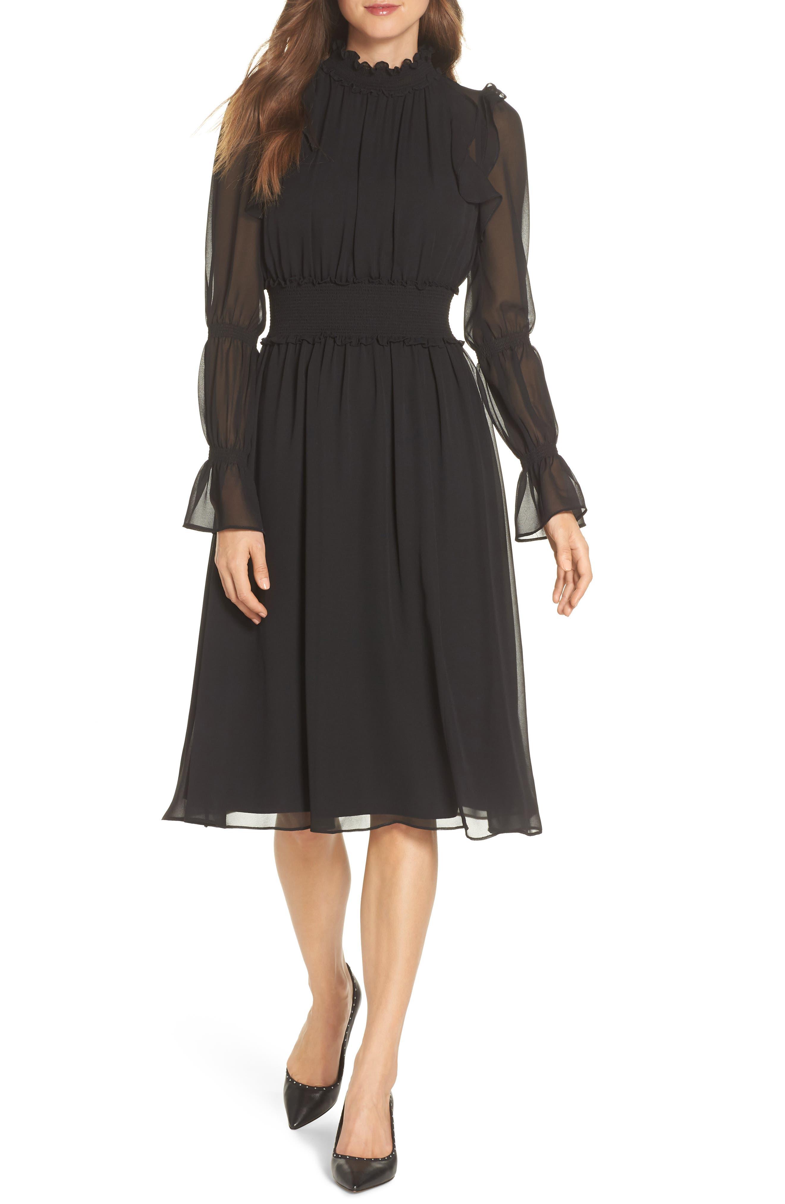 Ruffle Midi Dress,                             Main thumbnail 1, color,                             001