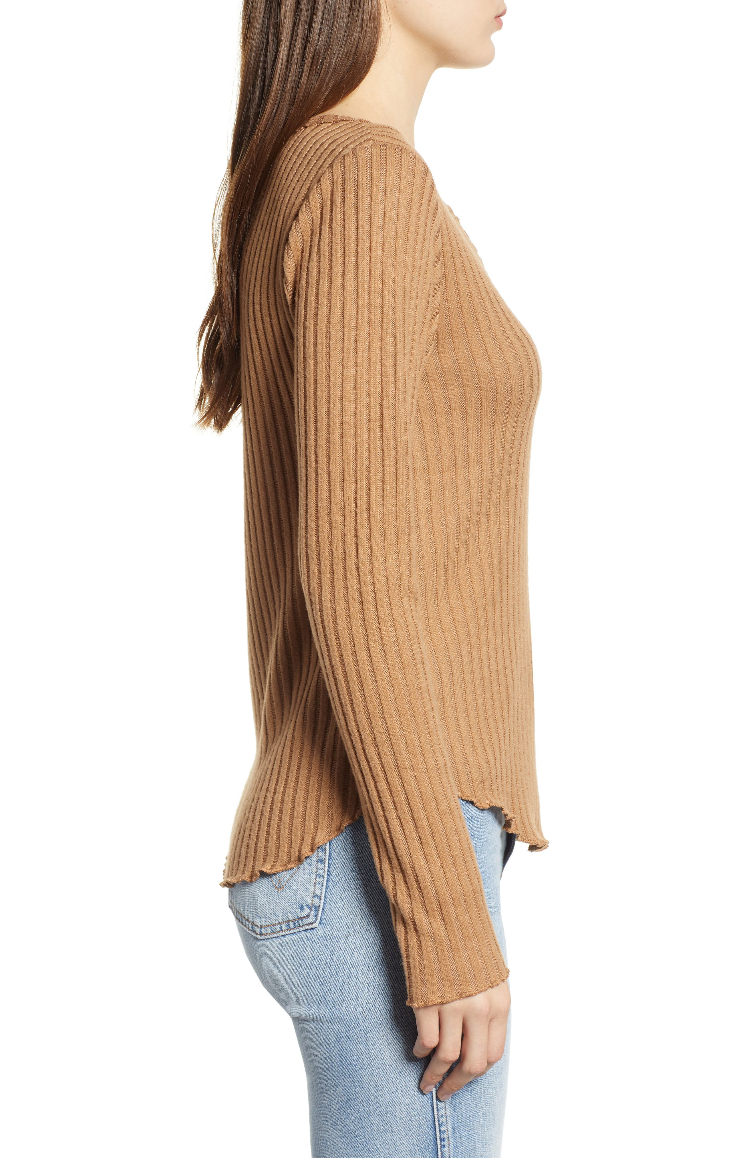 Rib Knit Henley,                             Alternate thumbnail 3, color,                             TAN BURRO