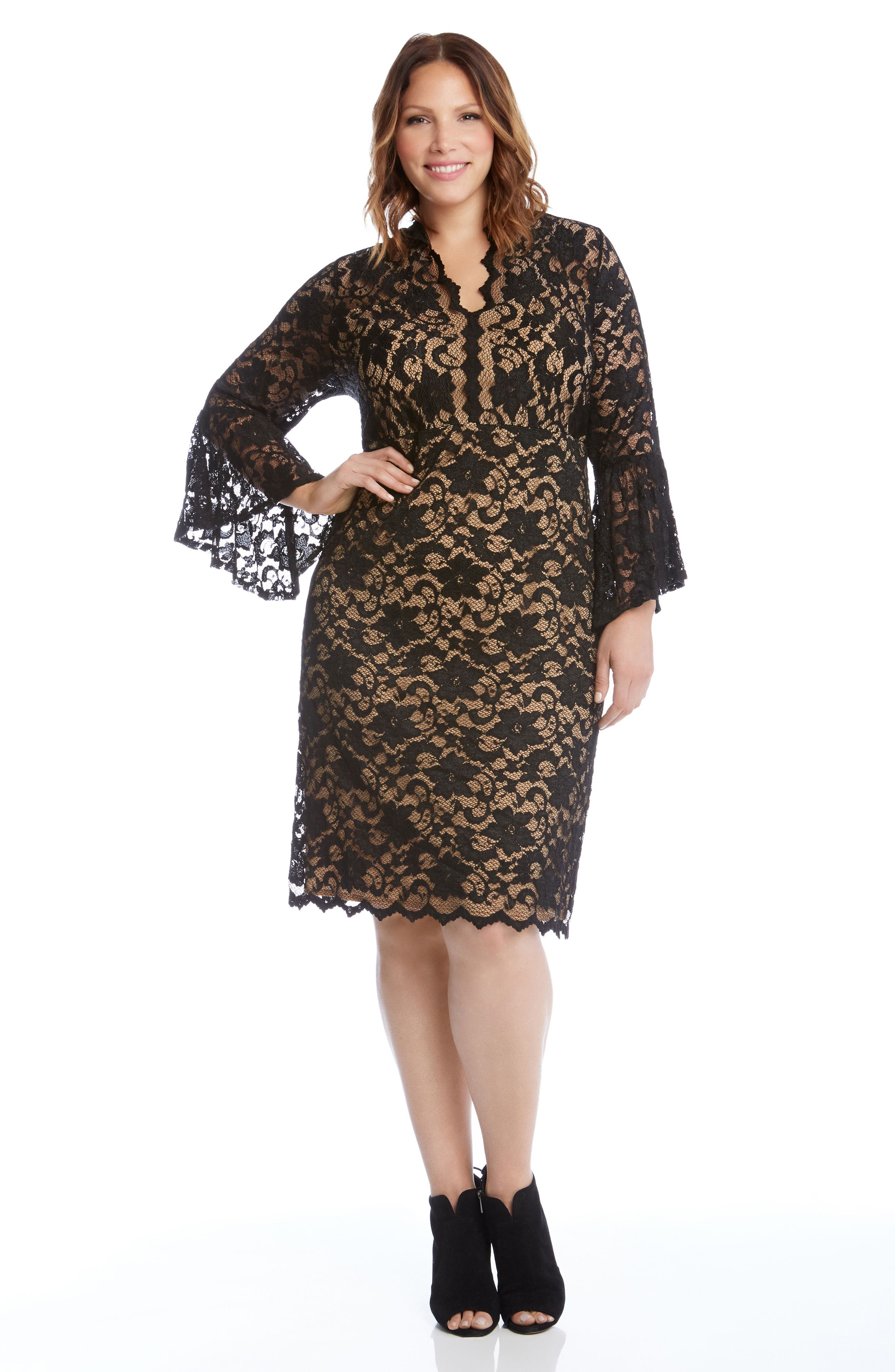 Bell Sleeve Lace Shift Dress,                             Alternate thumbnail 4, color,                             011