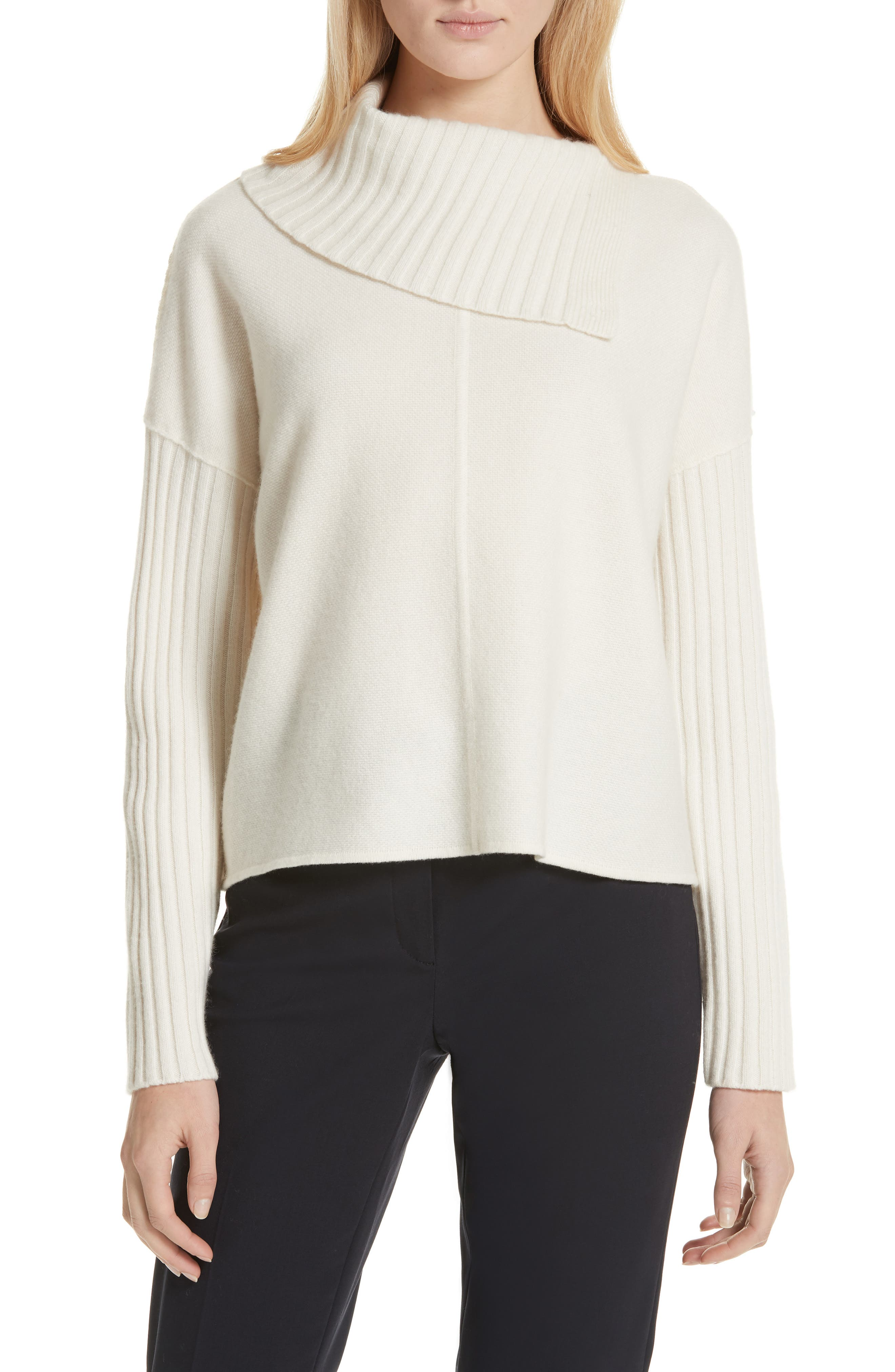 Nordstrom Signature Split Turtleneck Cashmere Sweater, Ivory