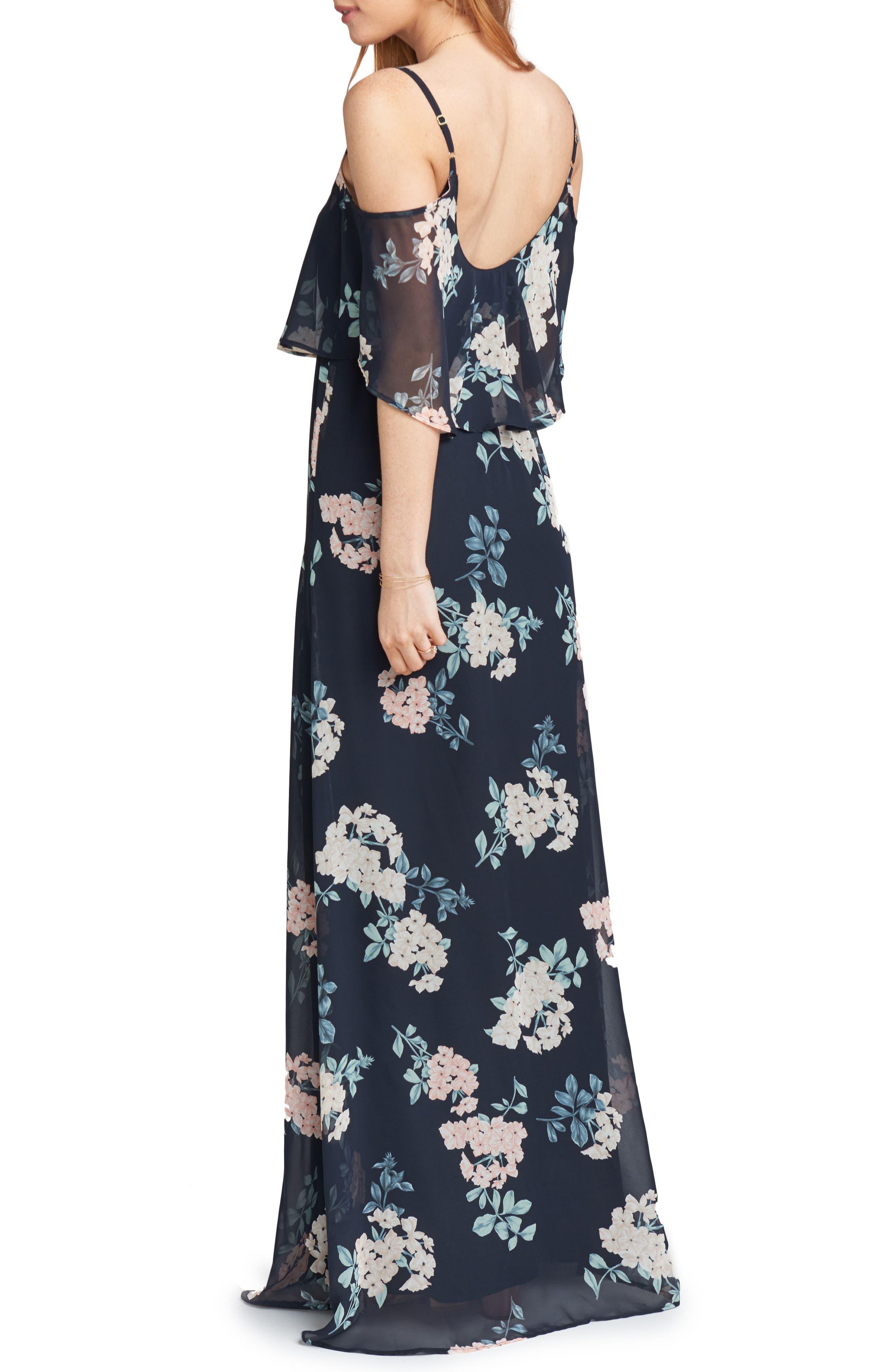 Caitlin Cold Shoulder Chiffon Gown,                             Alternate thumbnail 2, color,                             010