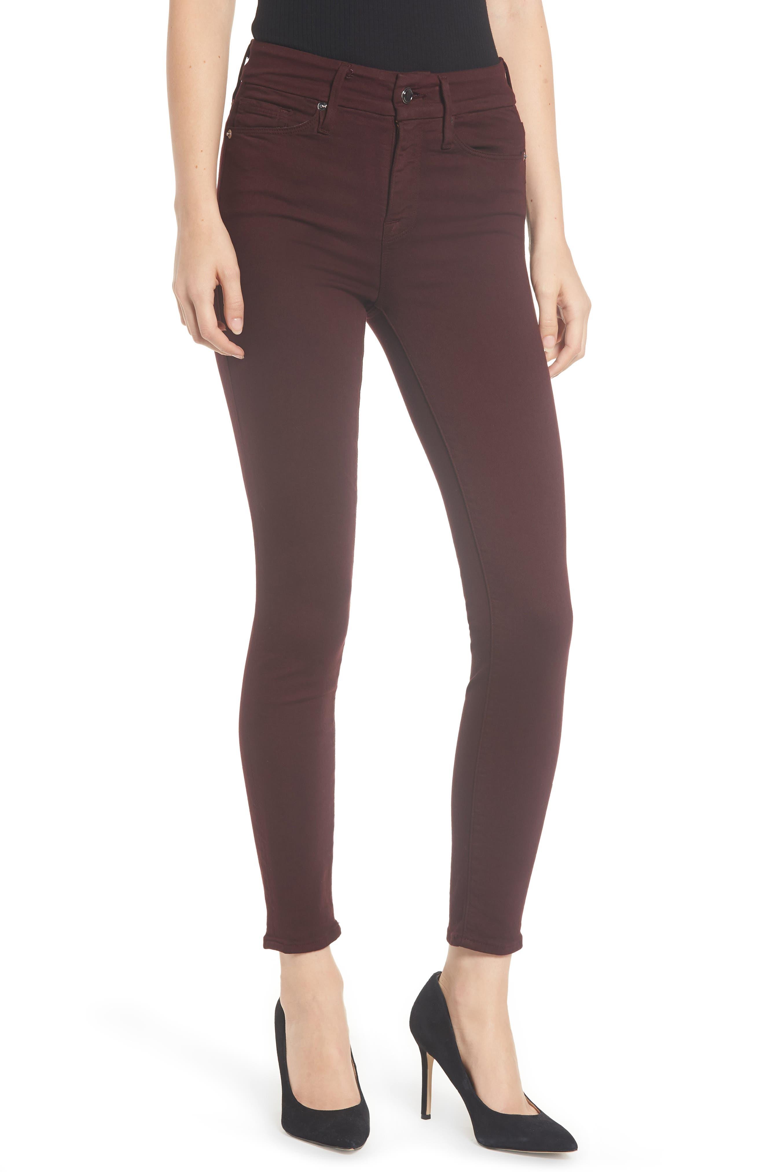 Good Legs High Waist Ankle Skinny Jeans,                             Main thumbnail 1, color,                             BURGUNDY 001