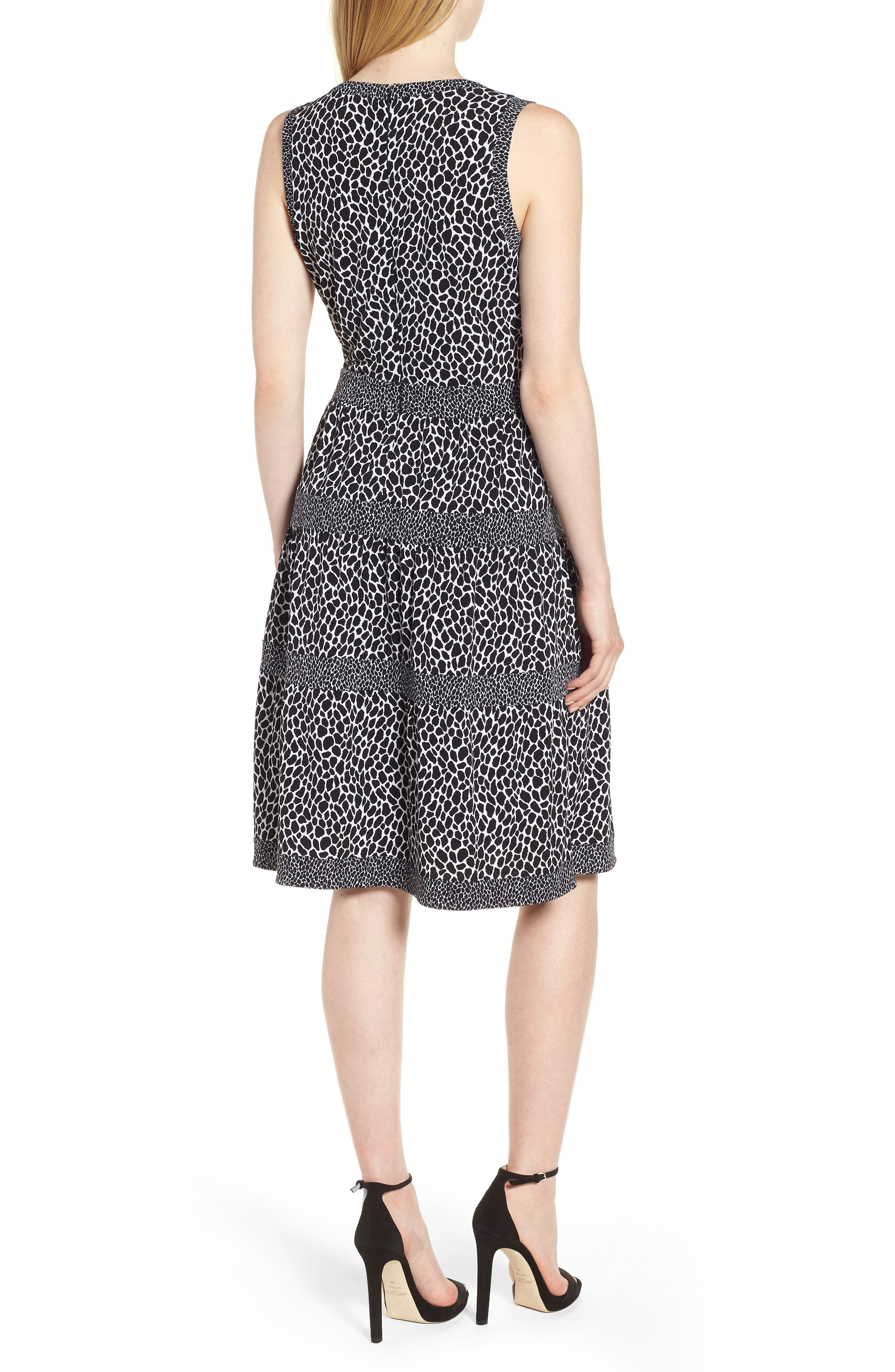 Sleeveless Leopard Border Fit & Flare Dress,                             Alternate thumbnail 2, color,