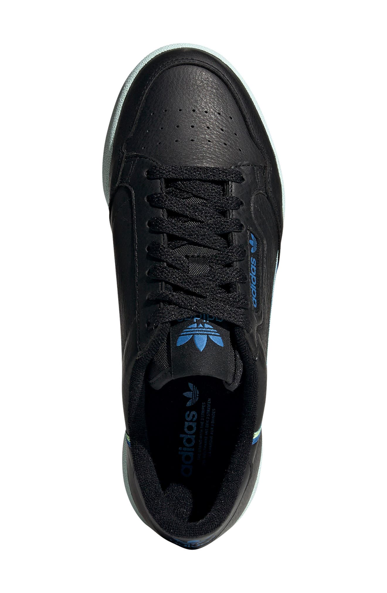 ADIDAS,                             Continental 80 Sneaker,                             Alternate thumbnail 4, color,                             BLACK/ HI-RES YELLOW/ BLUE