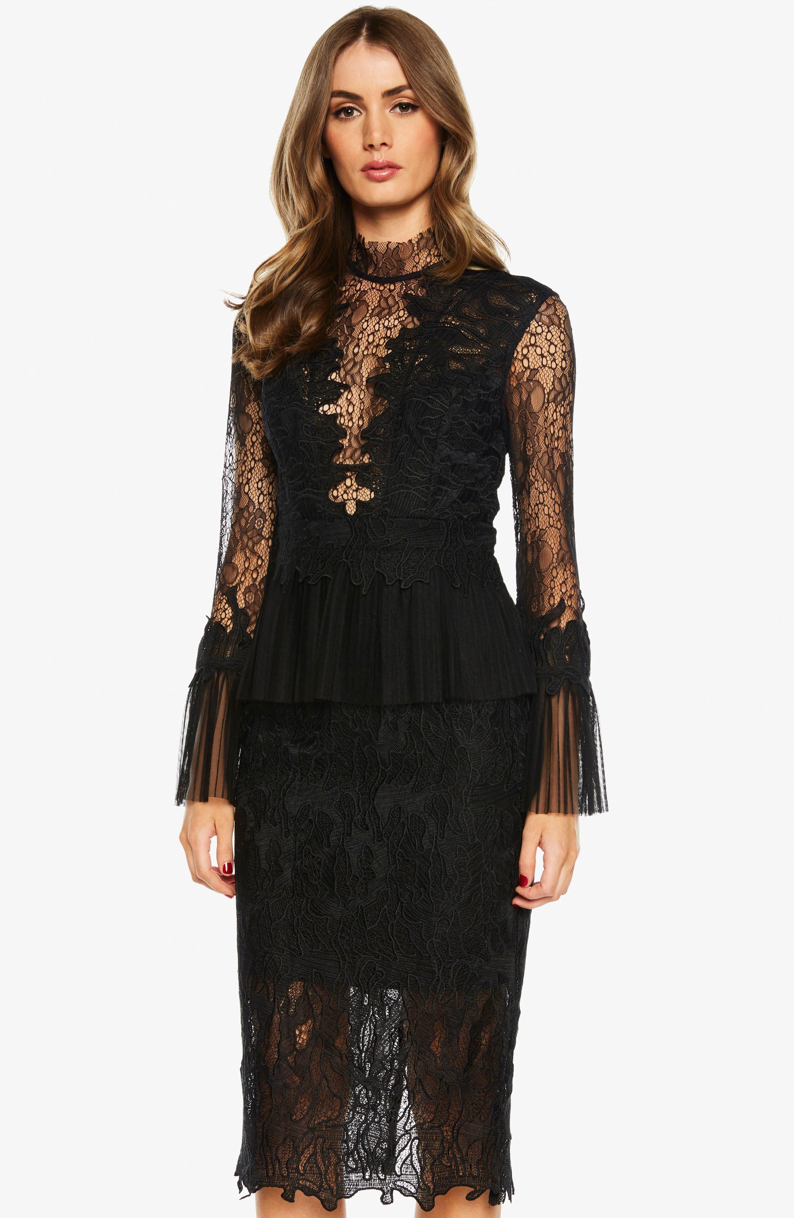 Frankie Lace Dress,                             Alternate thumbnail 5, color,                             001