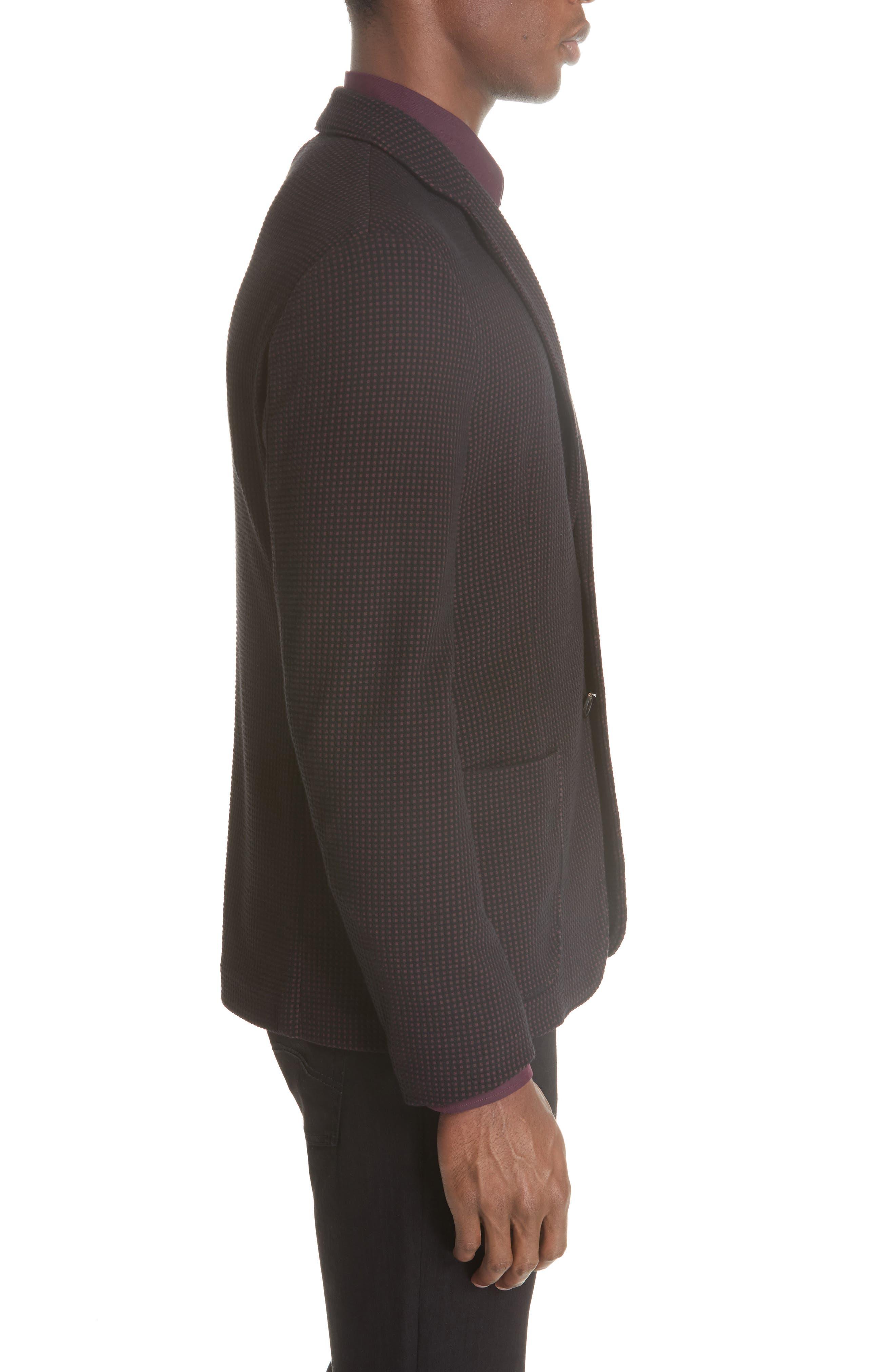 Trim Fit Check Cotton Sport Coat,                             Alternate thumbnail 3, color,                             BURGUNDY