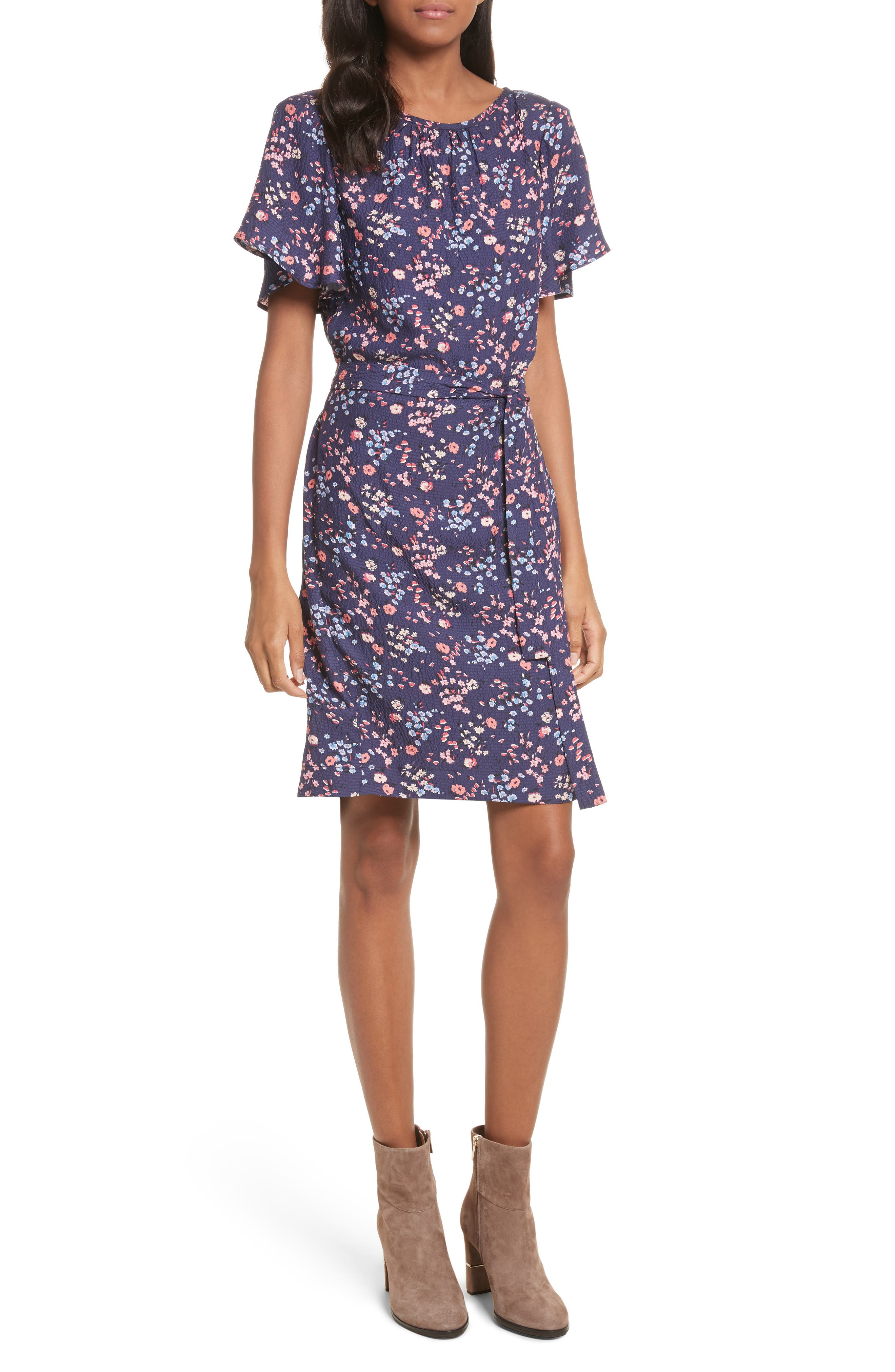 Woodland Floral Print Silk Dress,                         Main,                         color,