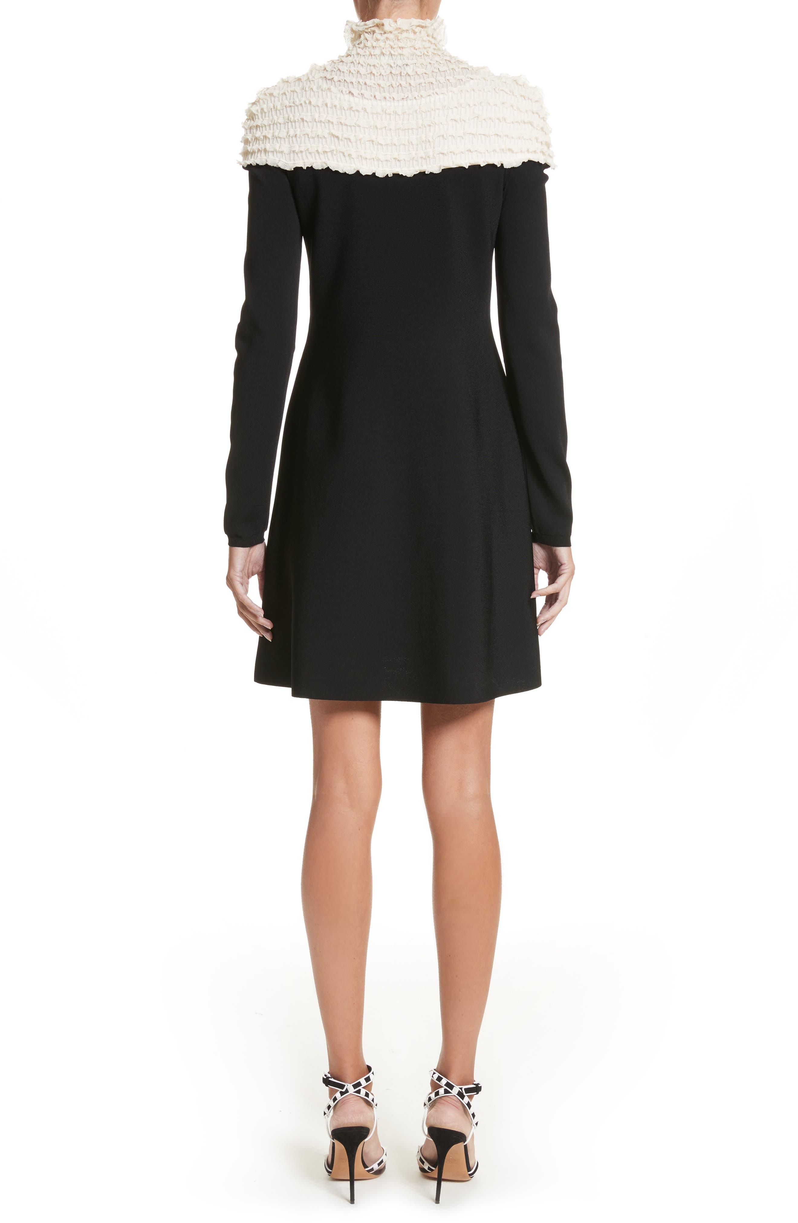 Ruffle Neckline Knit Dress,                             Alternate thumbnail 2, color,                             002