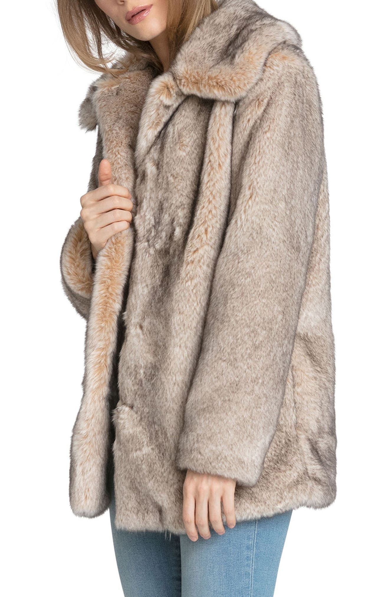 Faux Fur Swing Coat,                             Alternate thumbnail 3, color,                             257