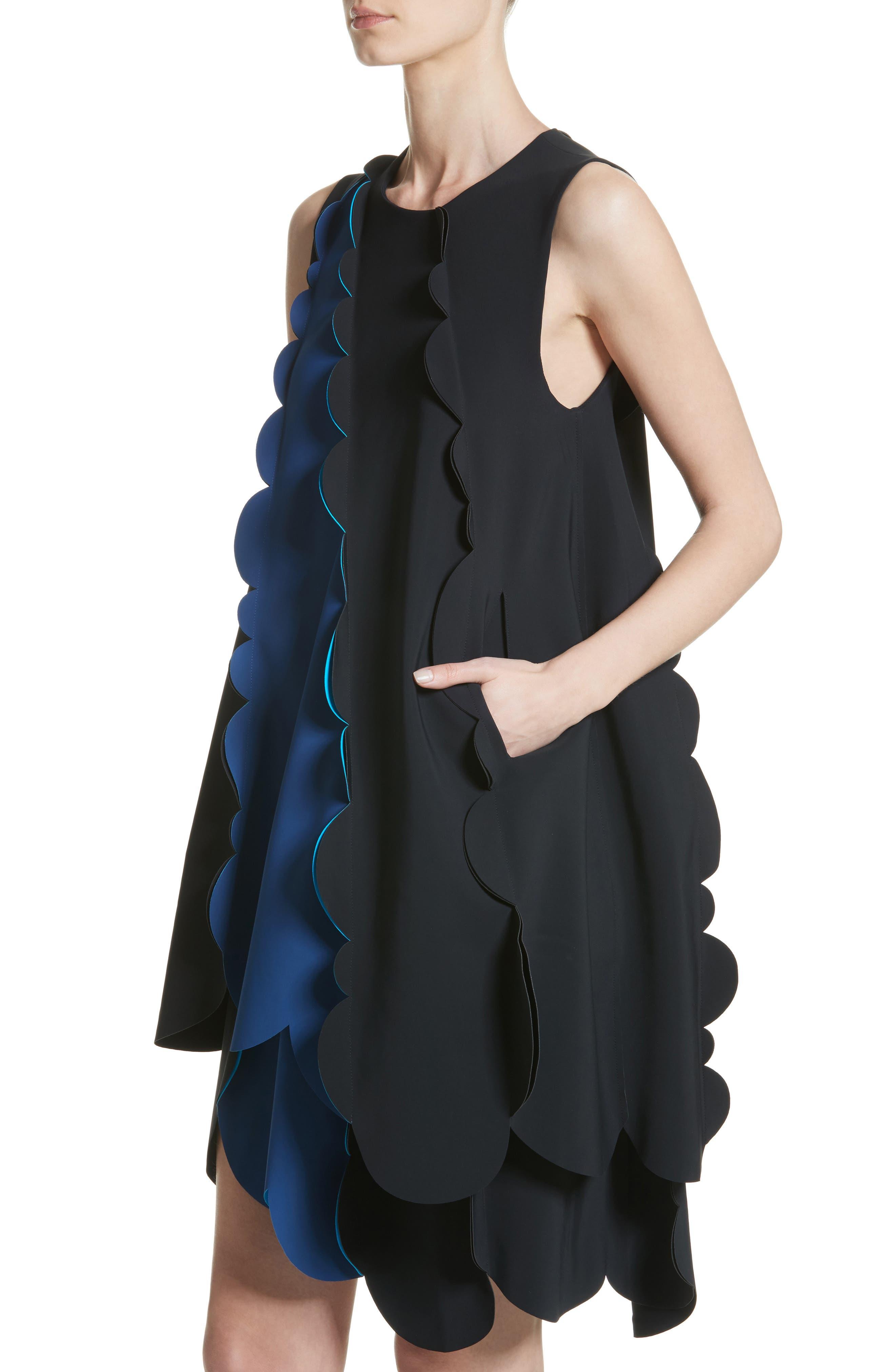 Scalloped Asymmetrical Minidress,                             Alternate thumbnail 4, color,                             001