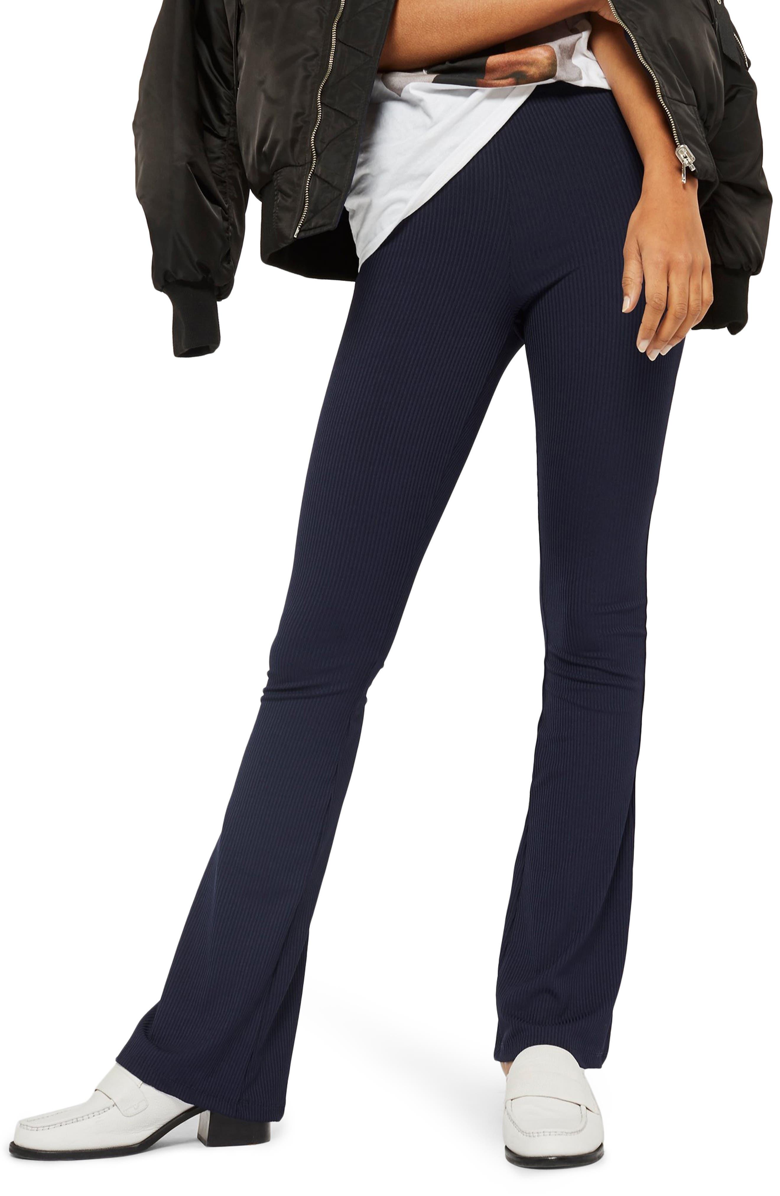 Topshop Skinny Ribbed Flare Pants, US (fits like 0-2) - Blue